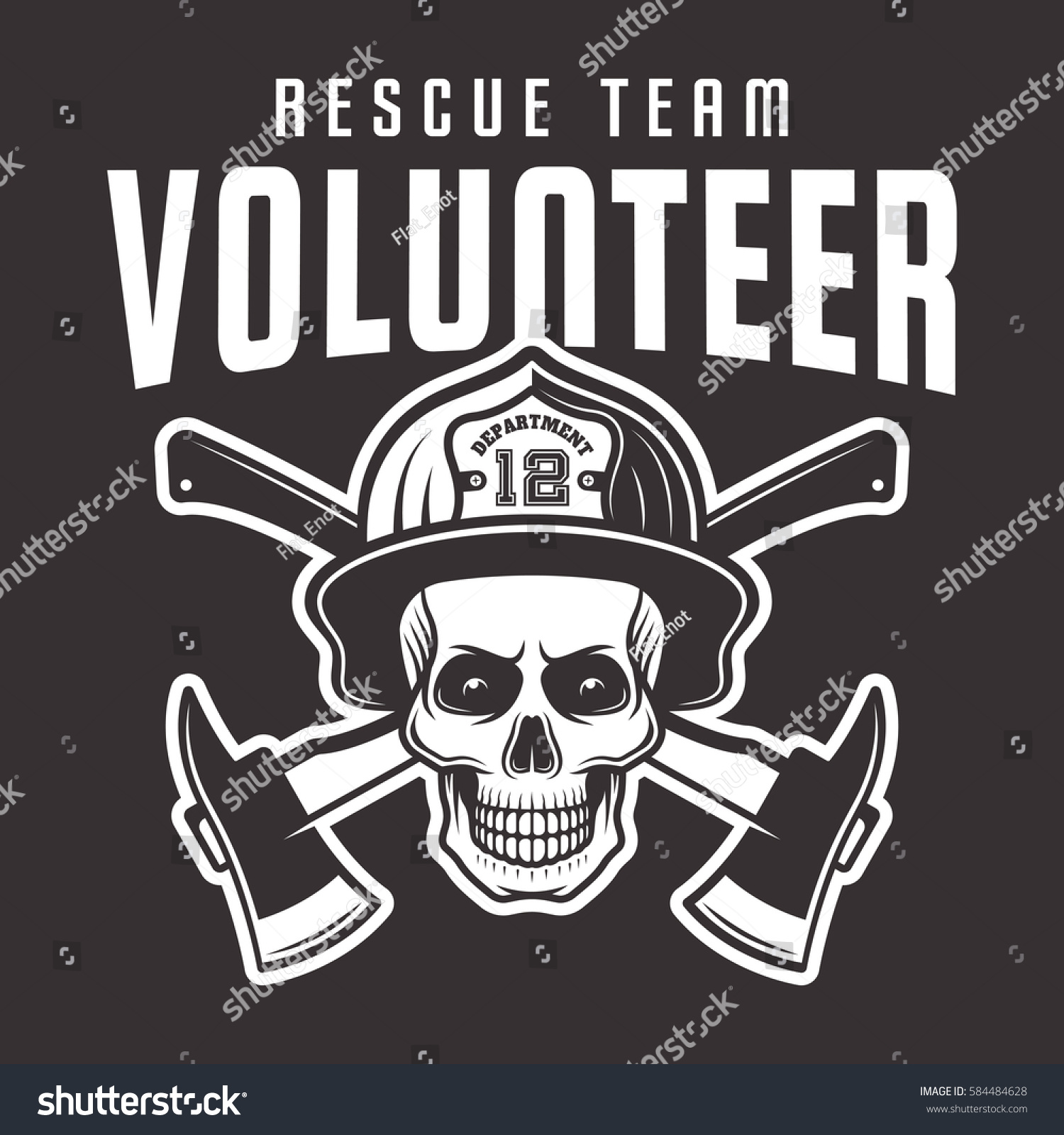 firefighter skull helmet inscription volunteer rescue stock vector