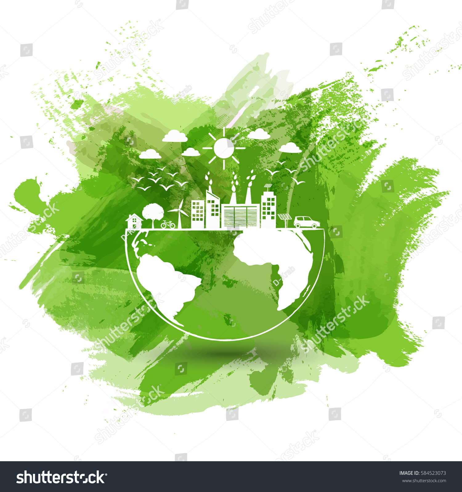 green city world eco friendly concept stock vector 584523073 shutterstock. Black Bedroom Furniture Sets. Home Design Ideas