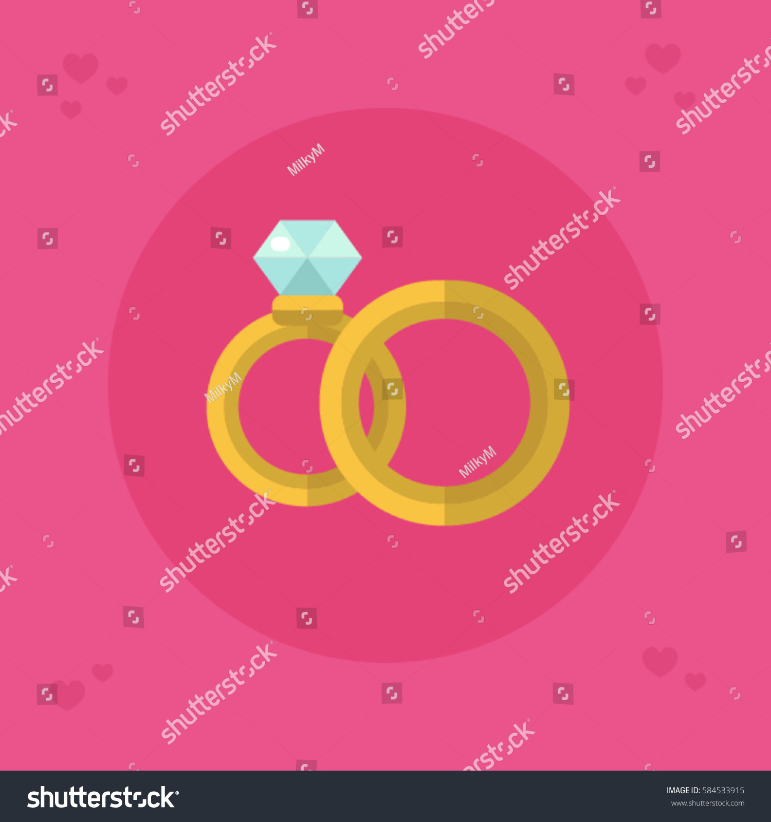 Flat Design Vector Icon Beautiful Wedding Stock Vector 584533915 ...