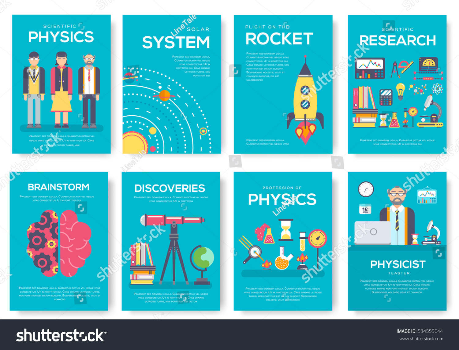 Technical minds brochure cards set physics stock vector for Technical brochure template