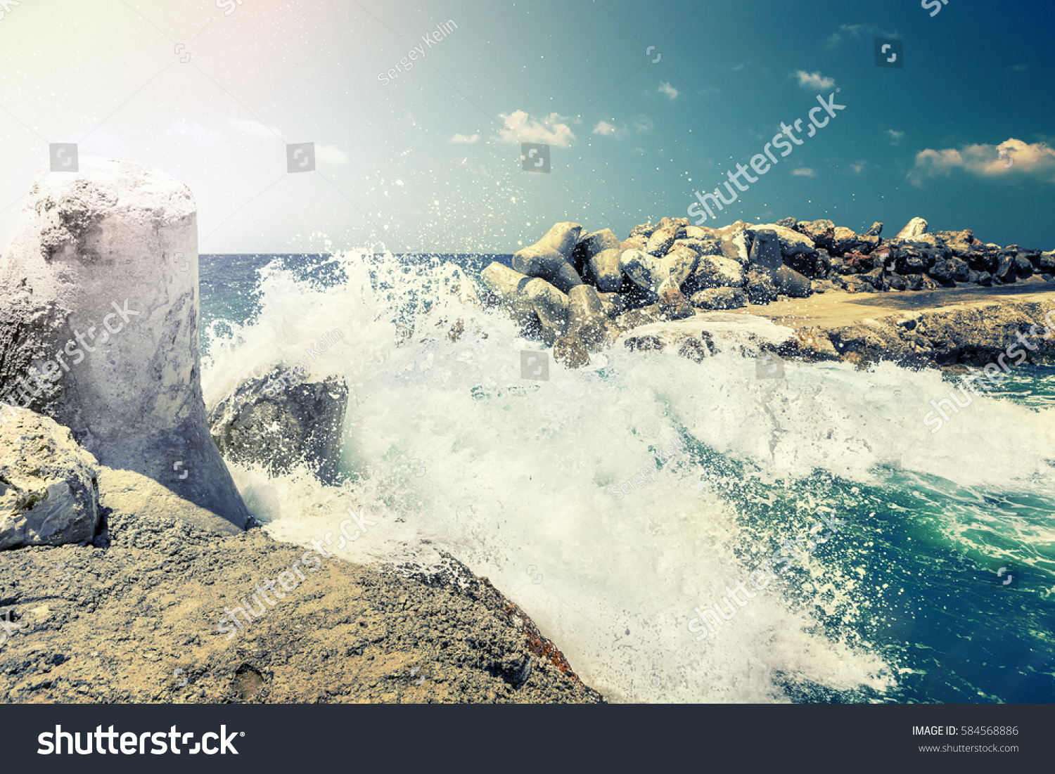 Dangerous Waves Crashing On Rocks On Stock Photo (Edit Now