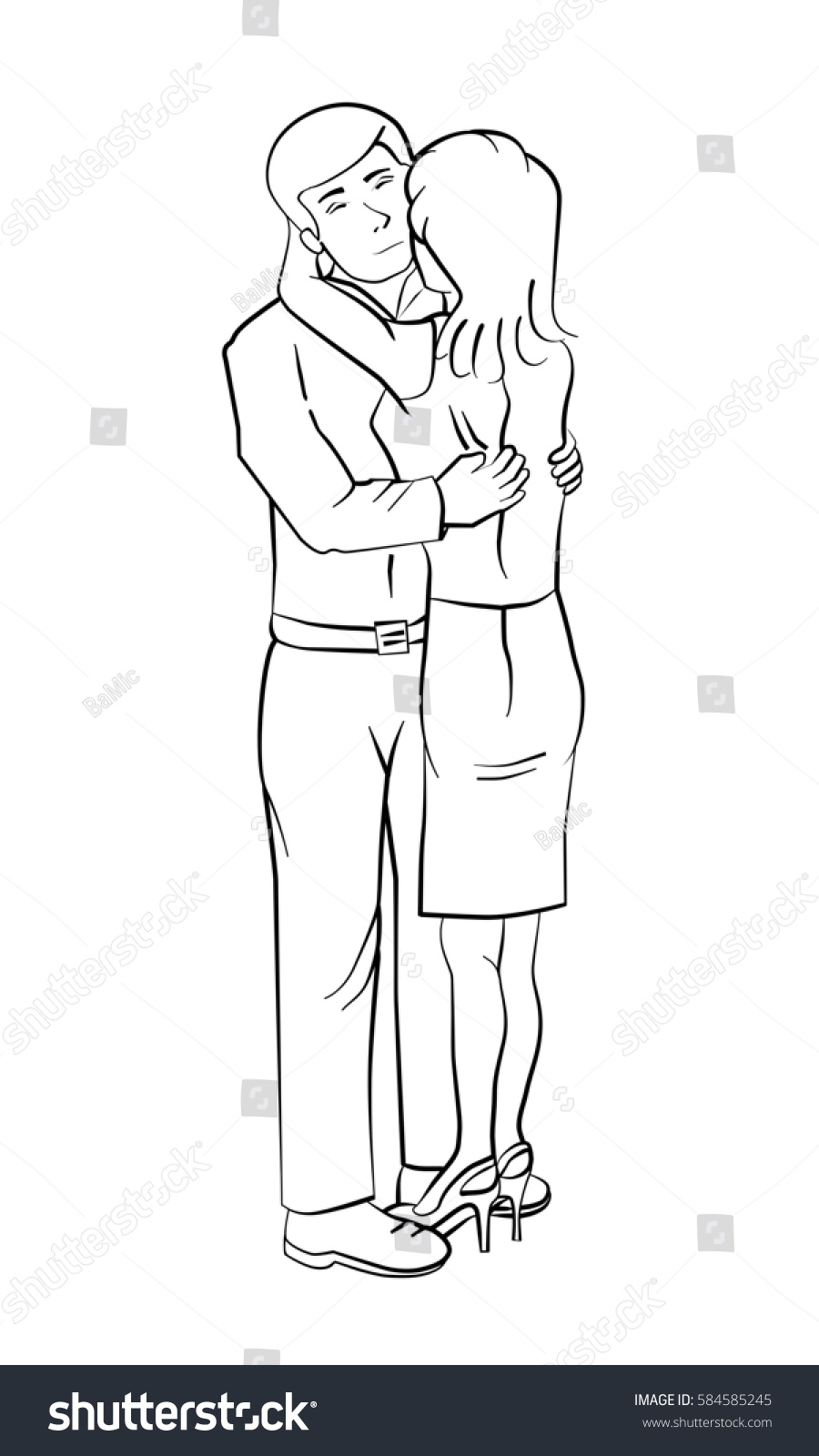 Couple outline drawing full body of a man and a woman hugging each other