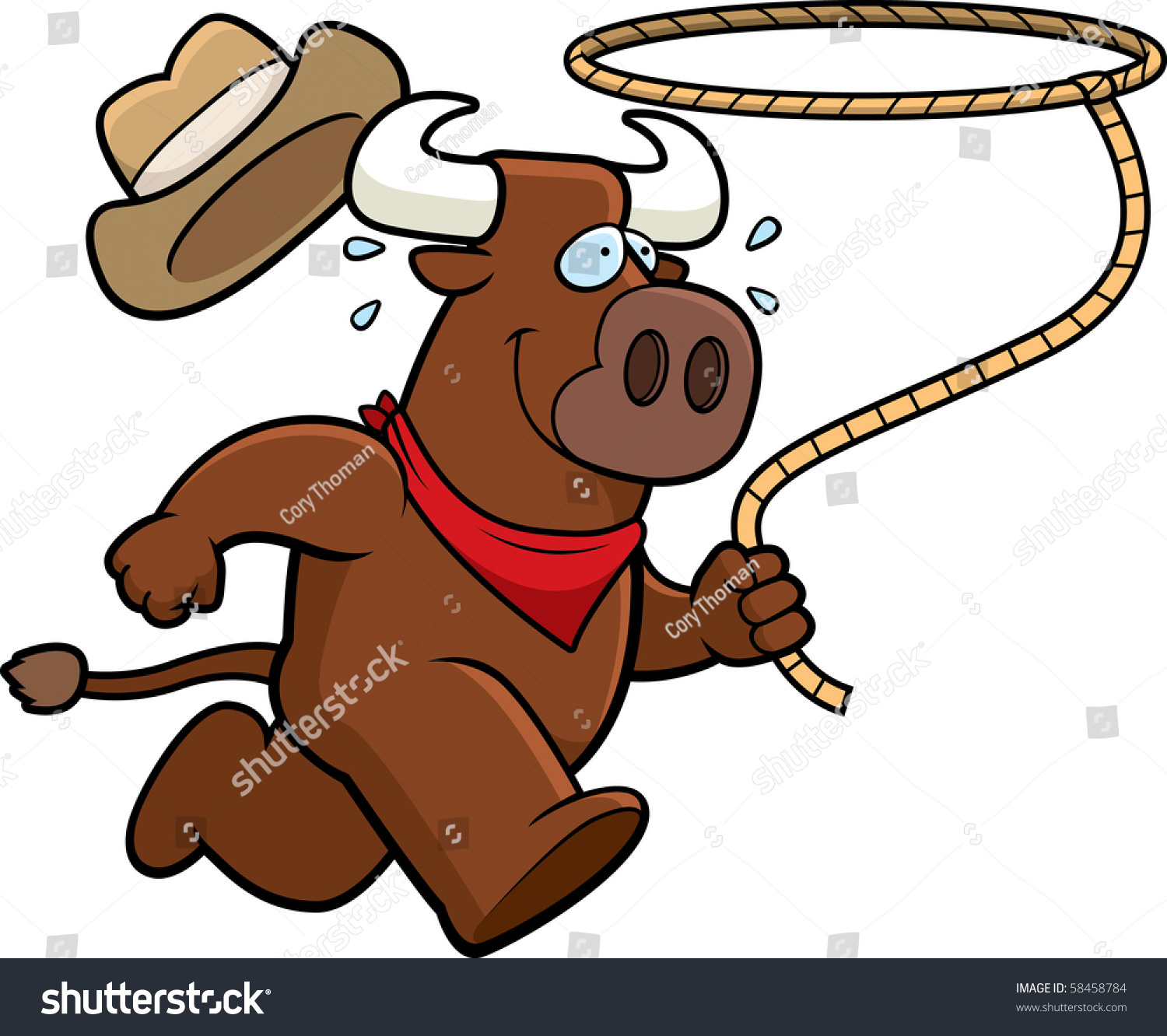 Happy Cartoon Rodeo Bull Running Lasso Stock Vector 58458784 ...