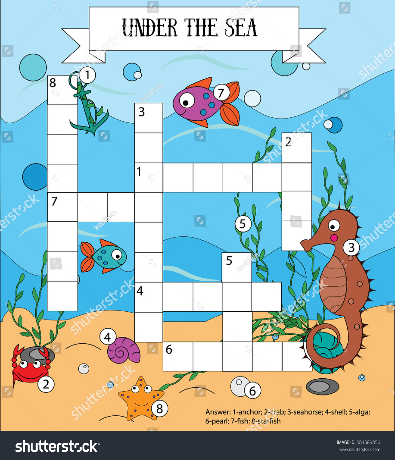 Crossword Educational Children Game Answer Learning Stock ...