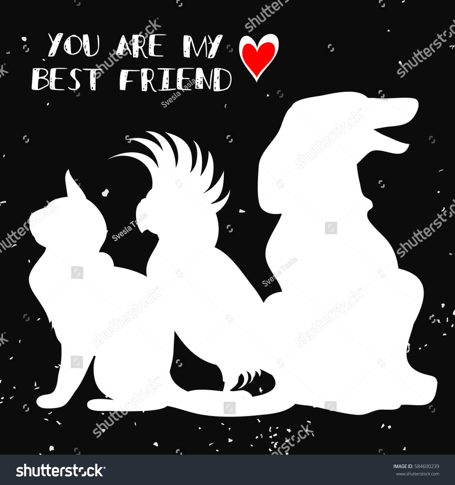 Typographic Poster Cat Parrot Dog Silhouette Stock Vector 584600239