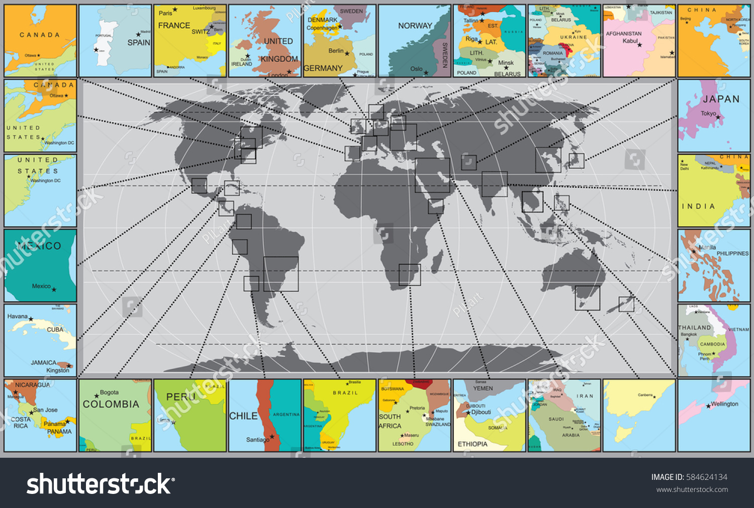 Abstract world map magnified segments capital stock vector royalty abstract world map with magnified segments with capital towns various countries with national border and gumiabroncs Image collections