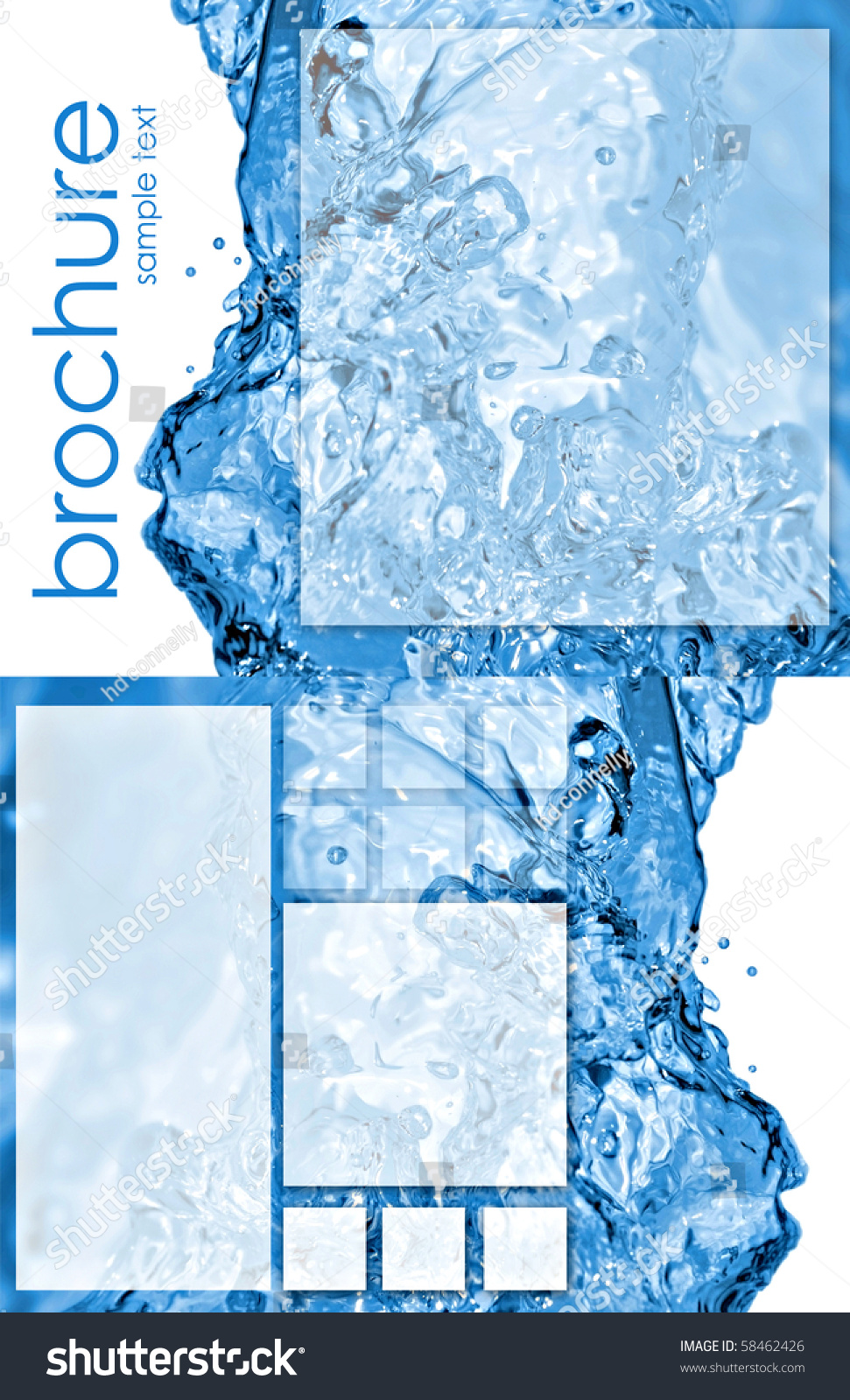 Tri fold brochure template with water splash 2 for Water brochure template