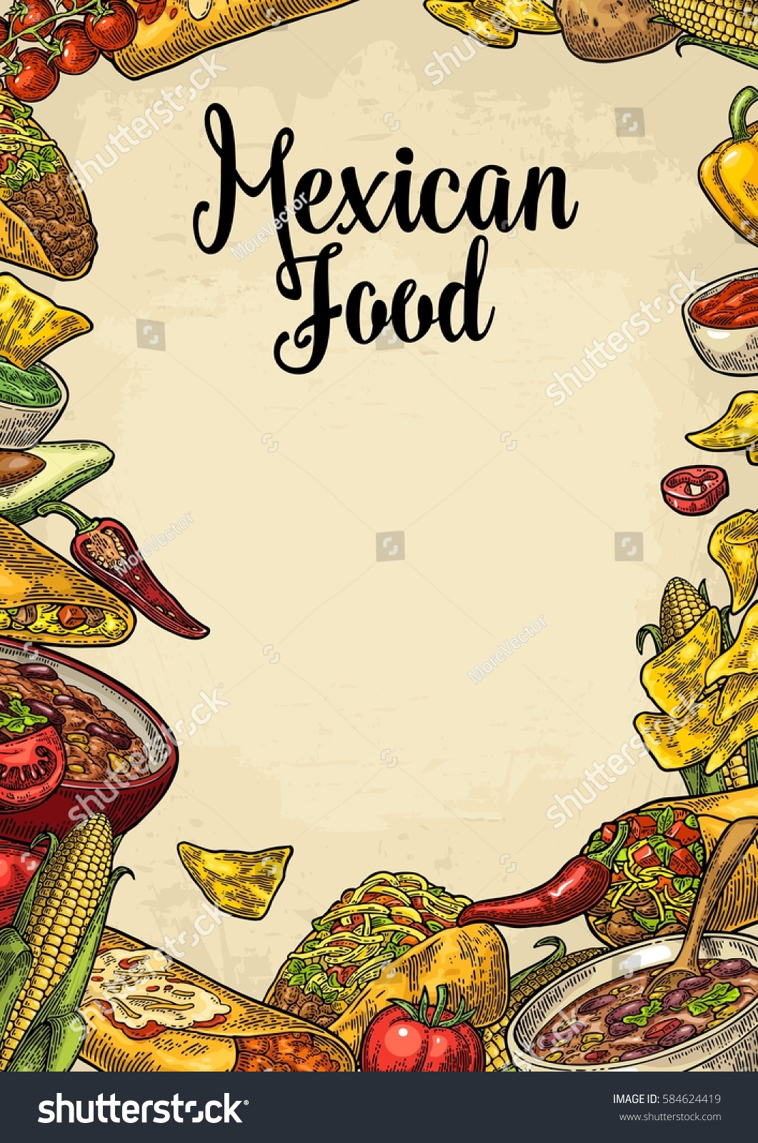 Mexican Traditional Food Restaurant Menu Template Stock Vector