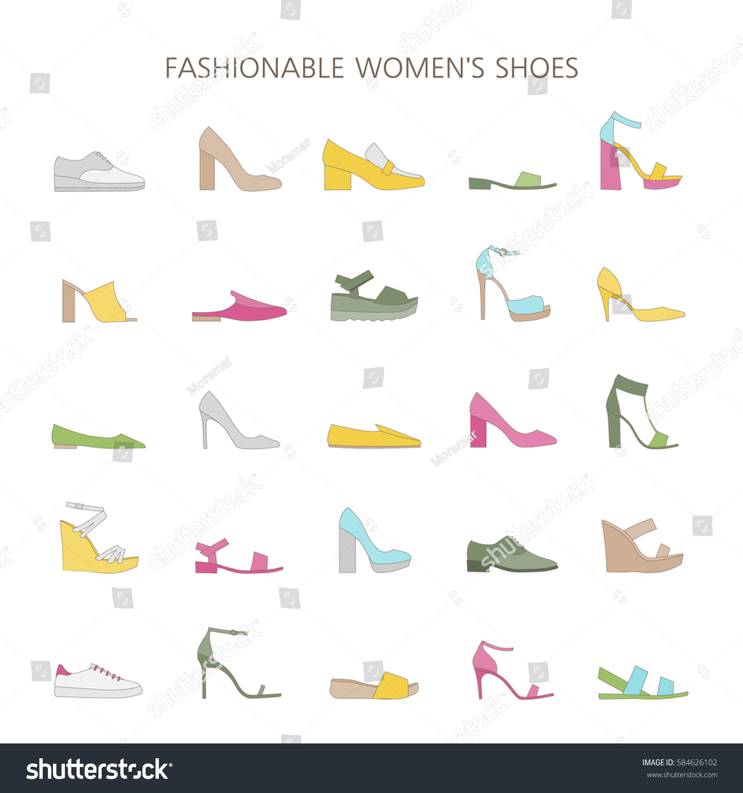 Set Different Types Trendy Shoes Womens Stock Vector Royalty Free 584626102