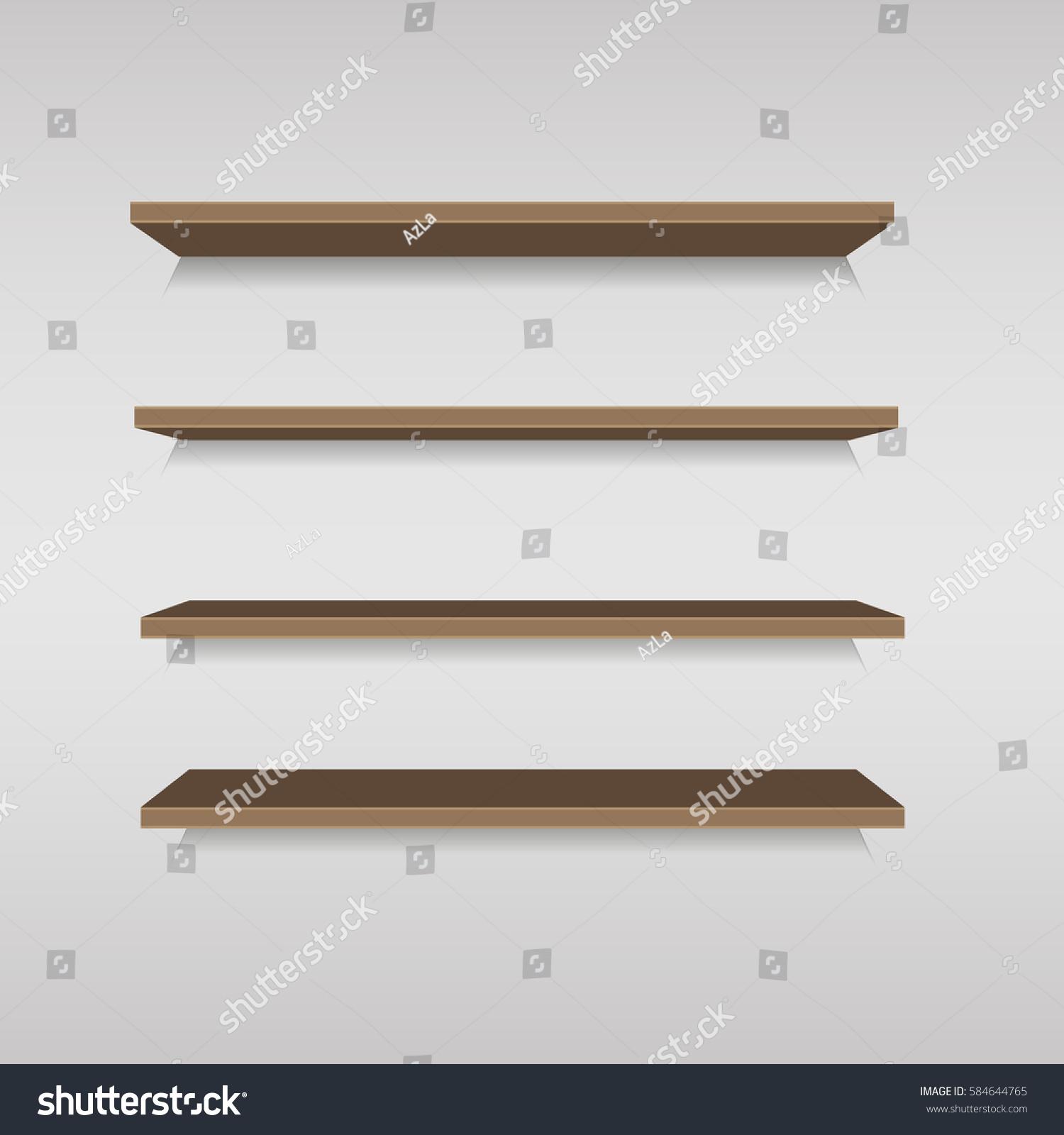 Empty Brown Shop Shelf Retail Shelves Stock Vector (Royalty Free