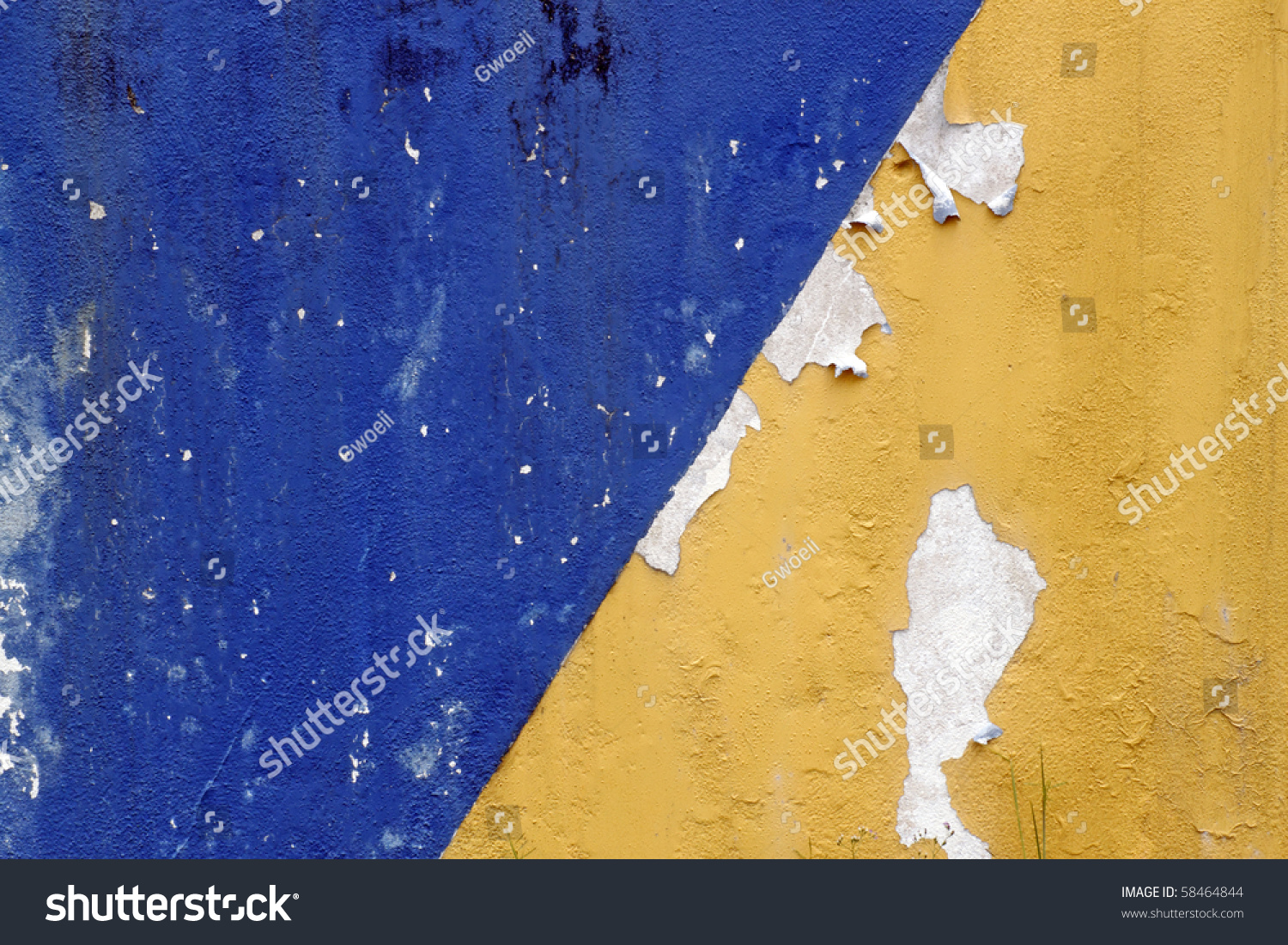 Two Color Blue Yellow Peeling Concrete Stock Photo (Royalty Free ...