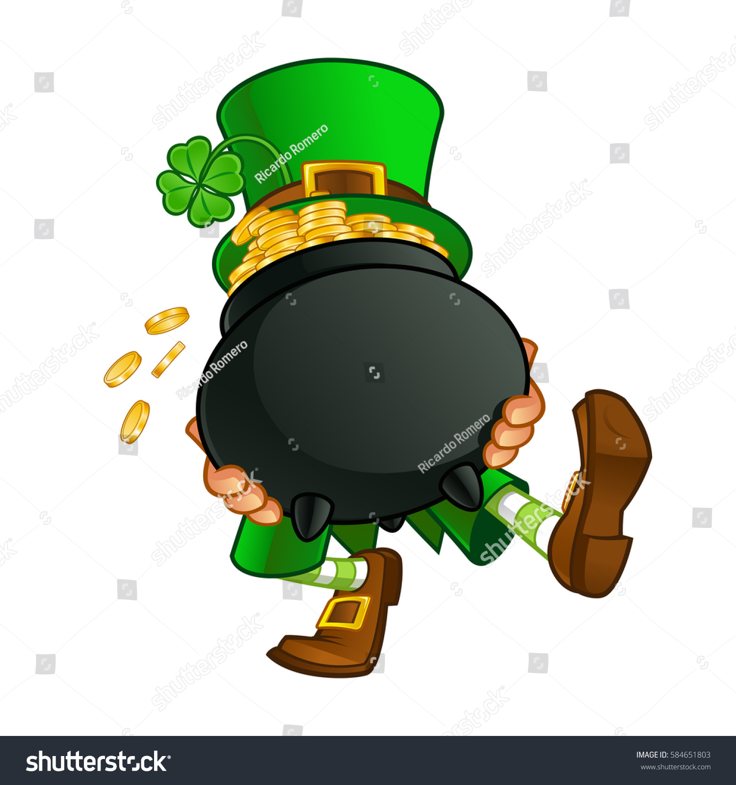 drawing leprechaun he carrying pot gold stock vector 584651803
