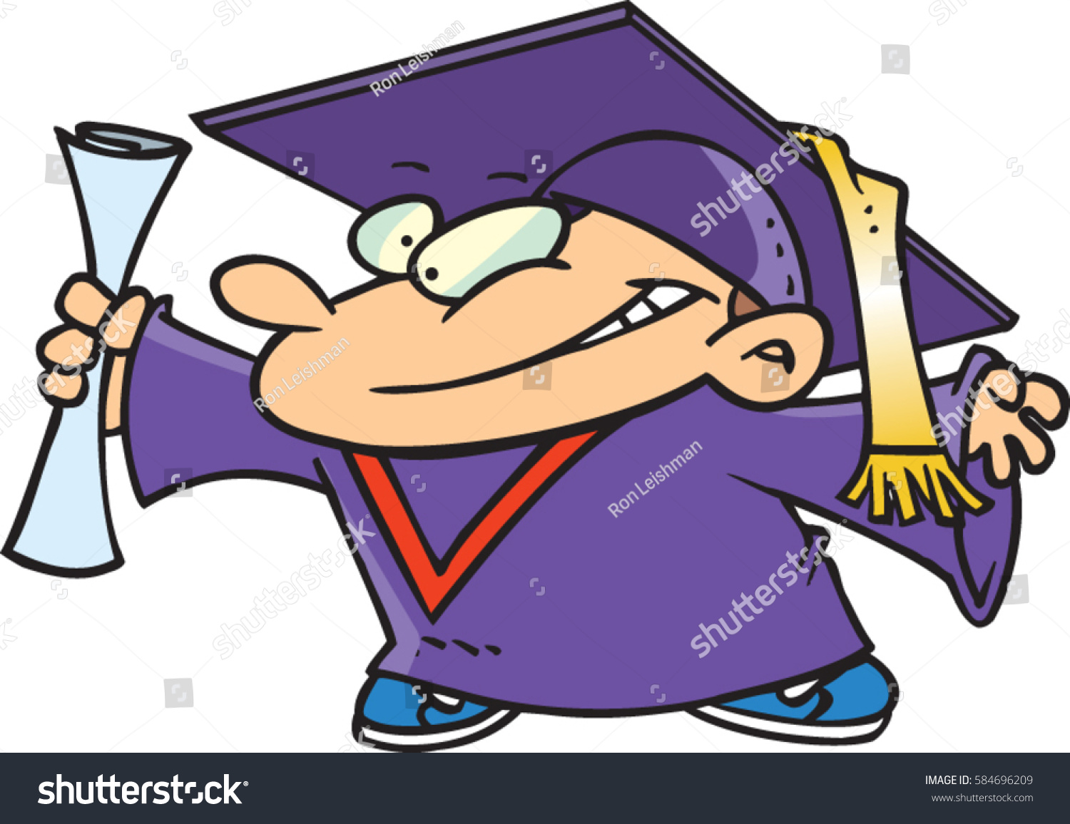 Cartoon Child Graduation Gown Stock Vector (2018) 584696209 ...