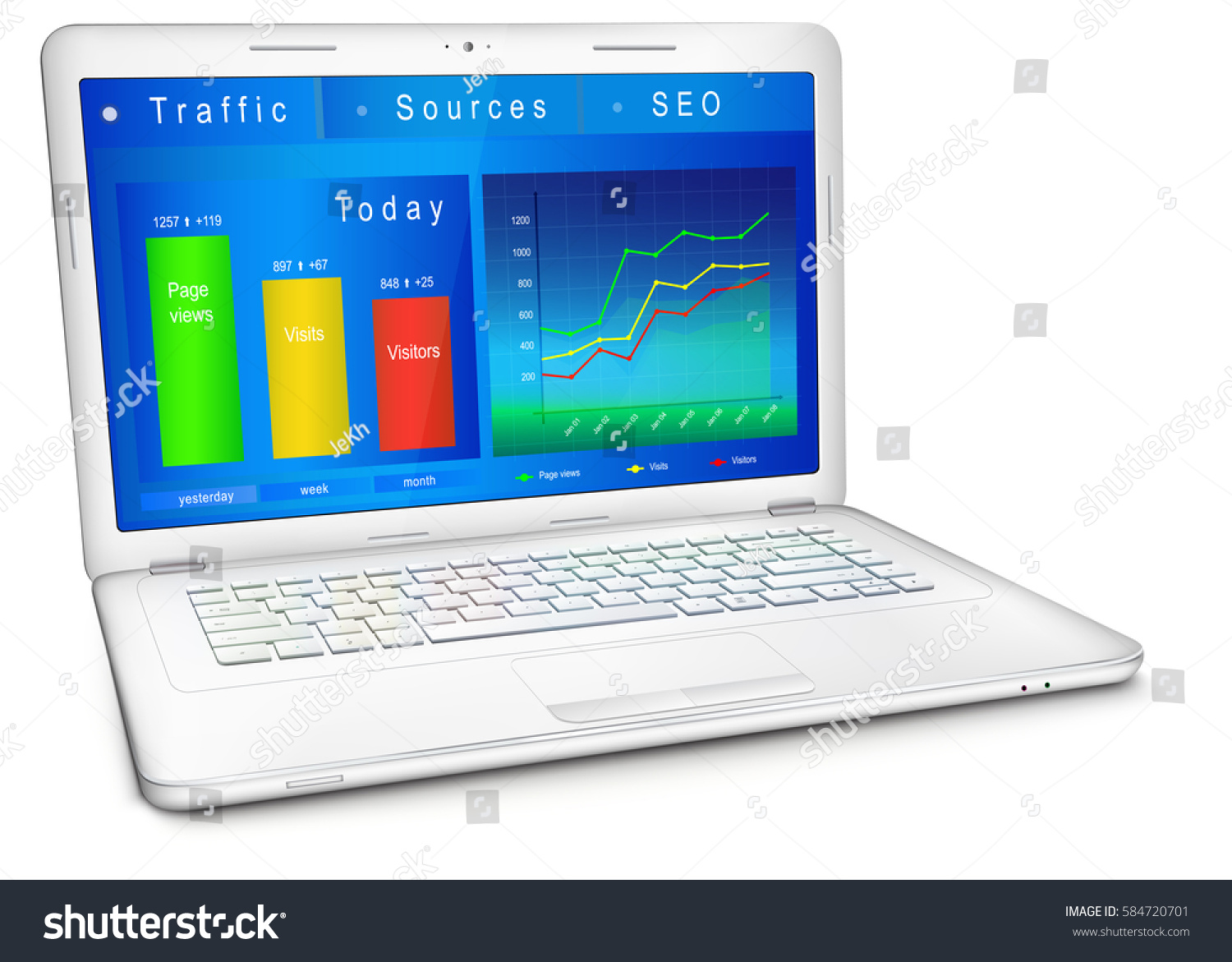 website traffic reporting data on laptop stock vector 584720701