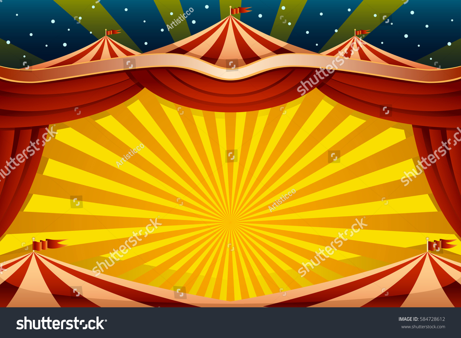Vector Illustration Circus Tent Background Stock Vector ...