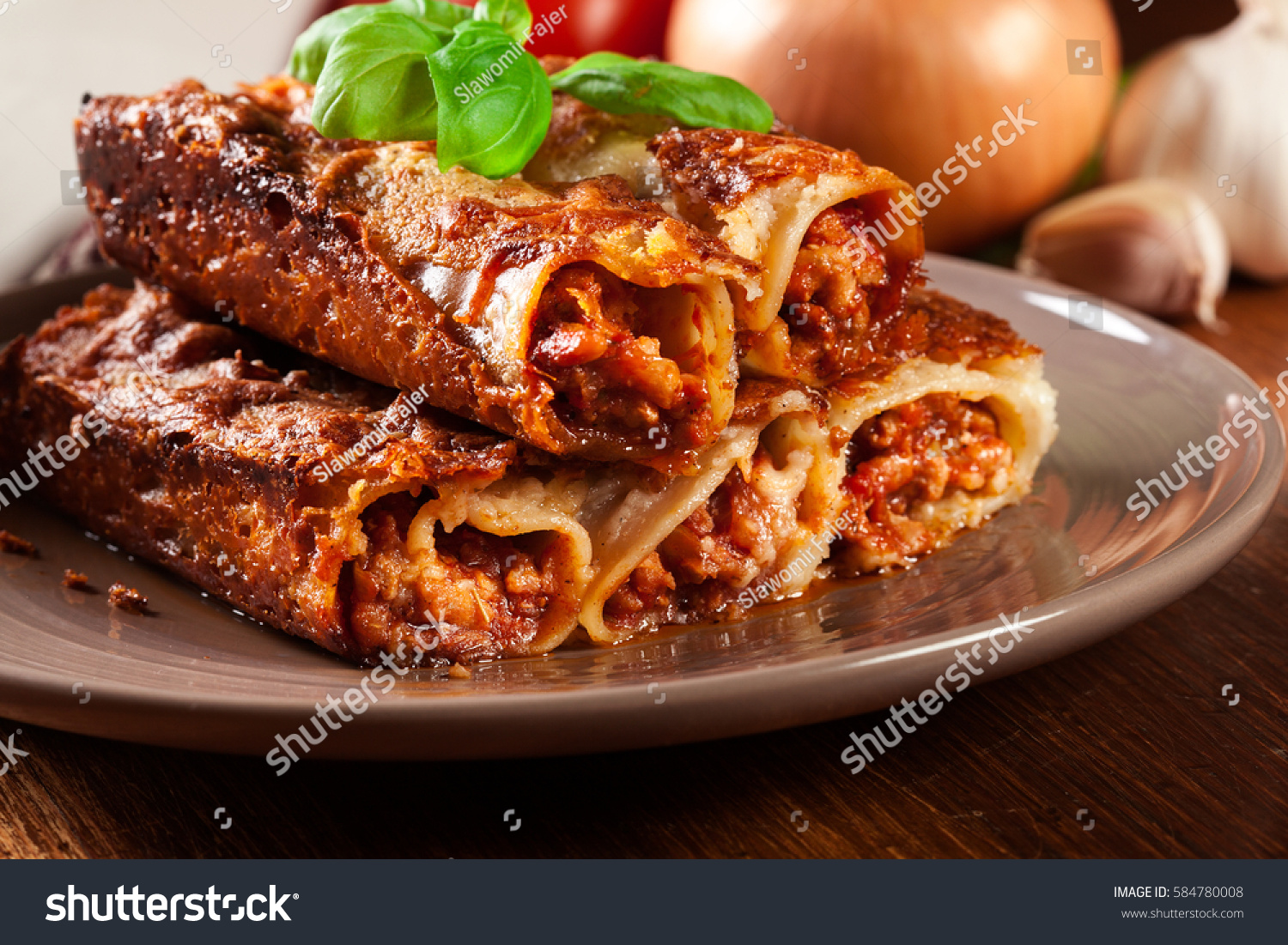 Baked Cannelloni Minced Meat Bechamel Sauce Stock Photo ...