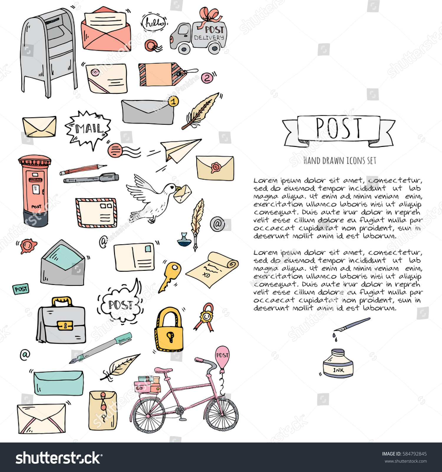 Hand Drawn Doodle Postal Elements Icon Stock Vector