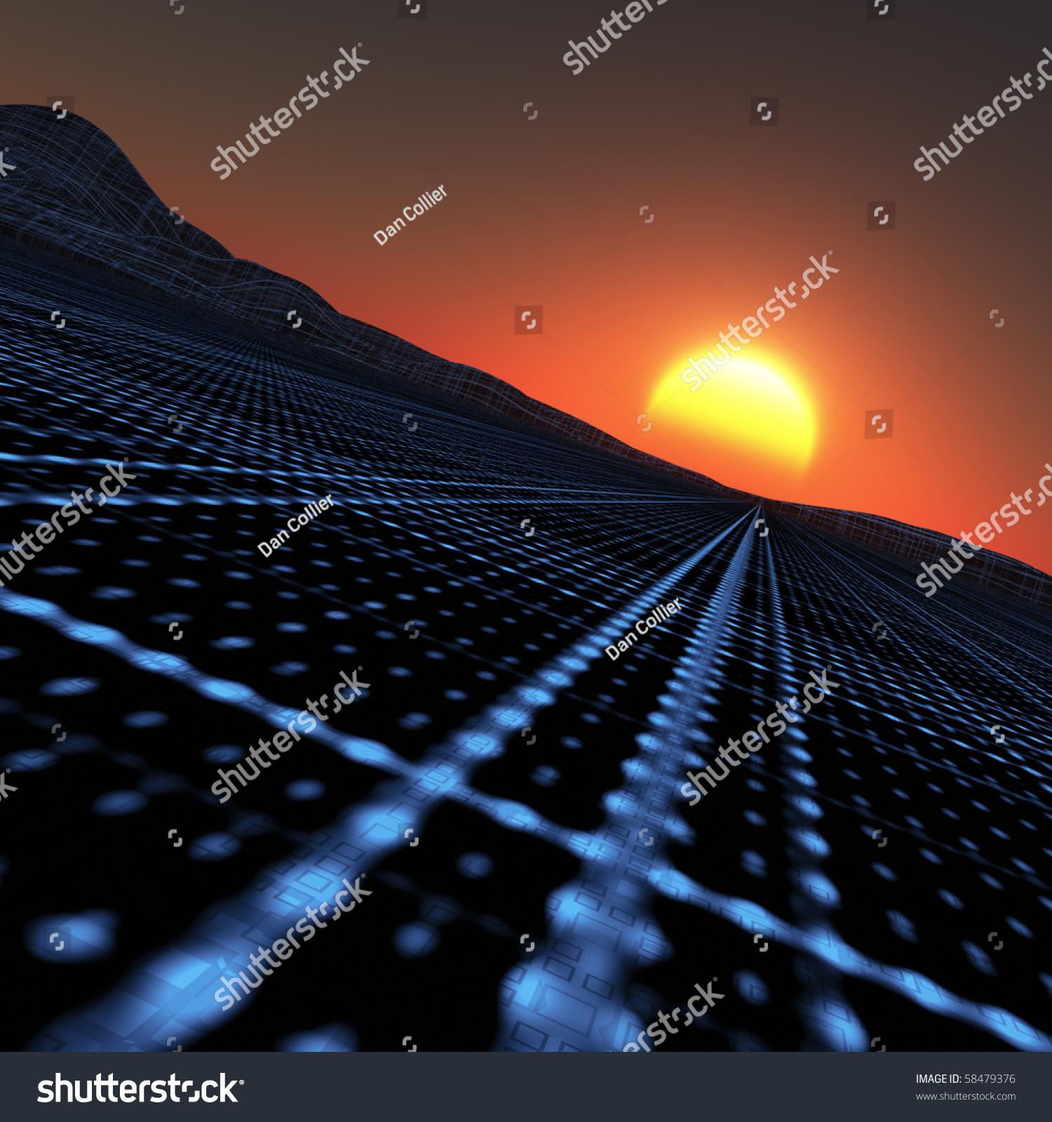 Blue Grid Vanishing Point Horizon Sunset Stock