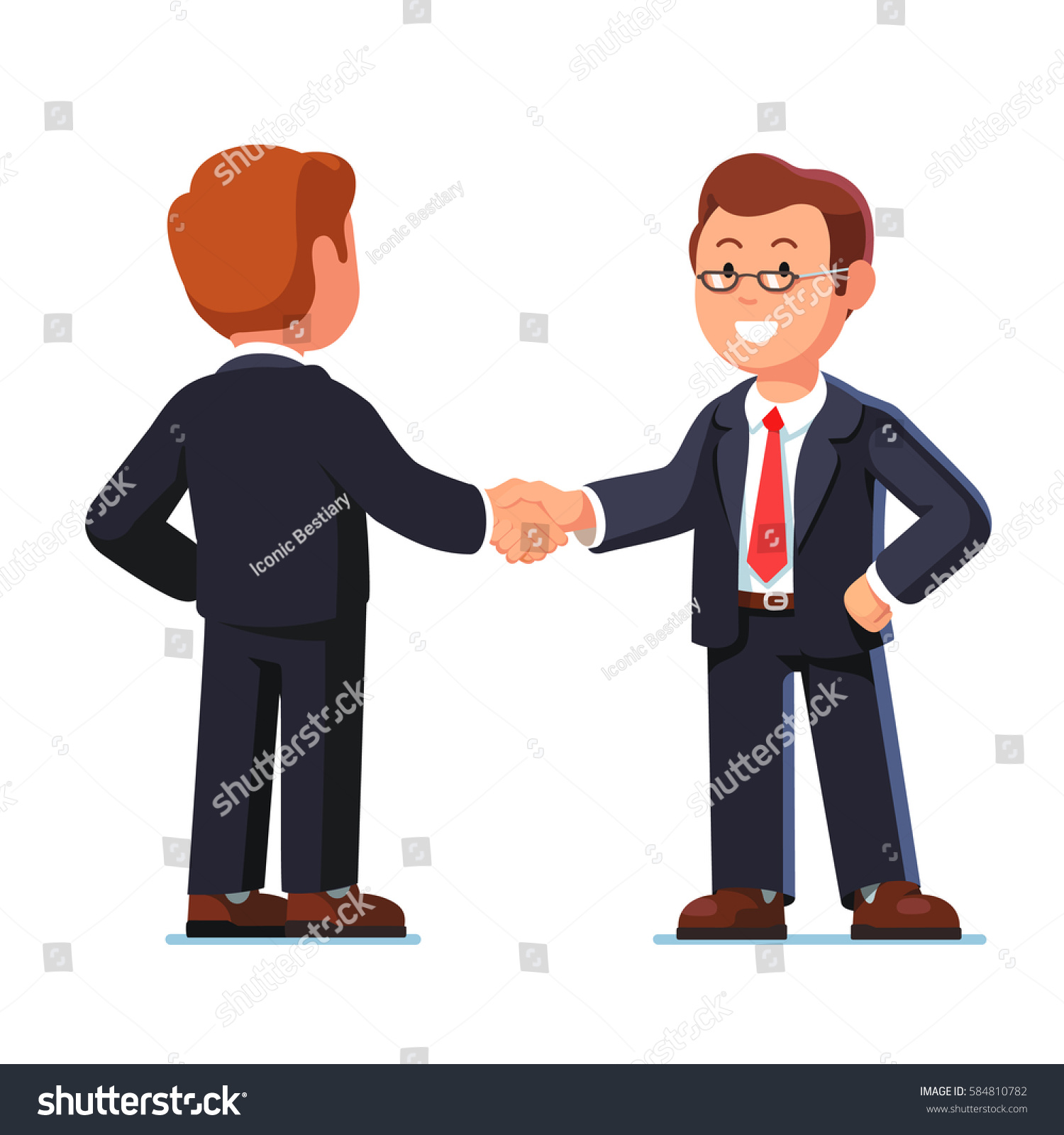 Two Standing Business Man Characters Shaking Stock Vector Royalty