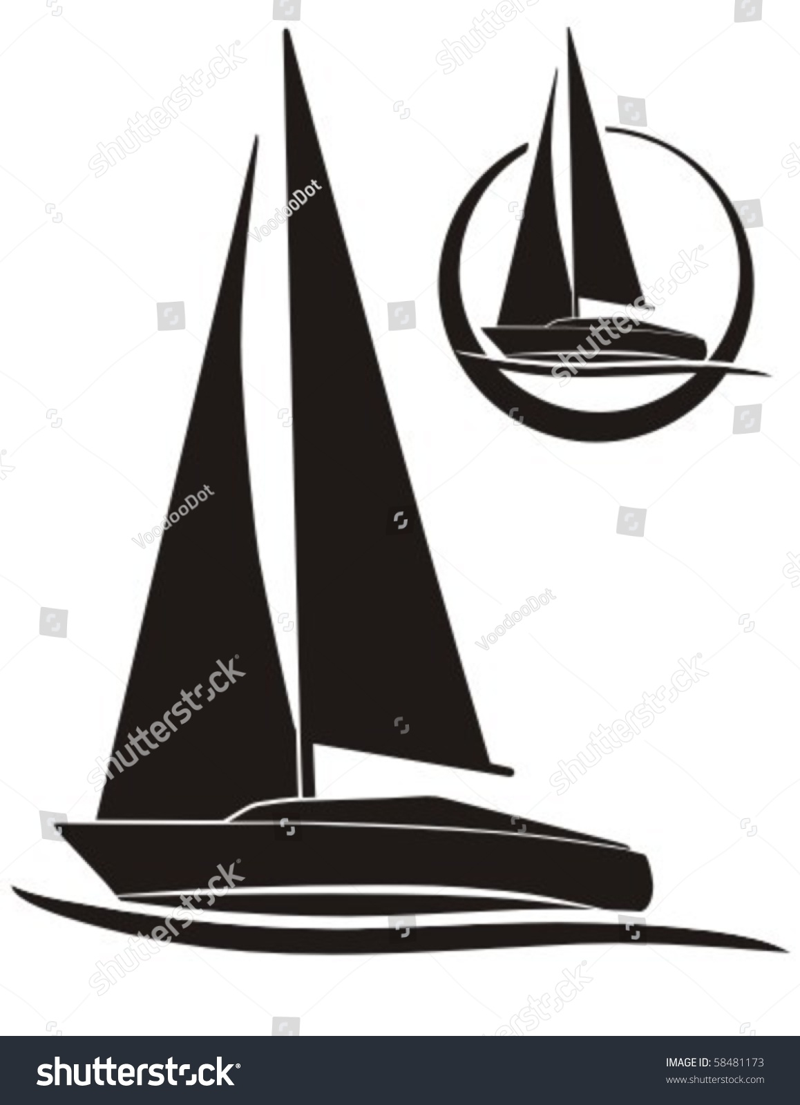 Silhouette Sailboat Vector Sign Sailing Stock Vector 58481173 Shutterstock