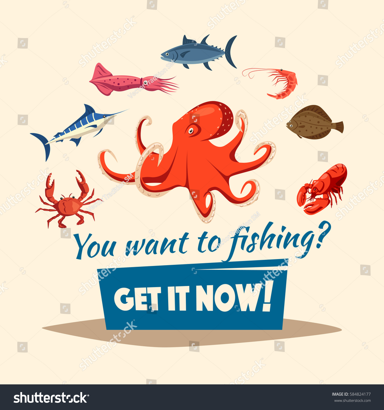 Fishing Vector Poster Fishes Marine Seafood Stock Vector 584824177 ...