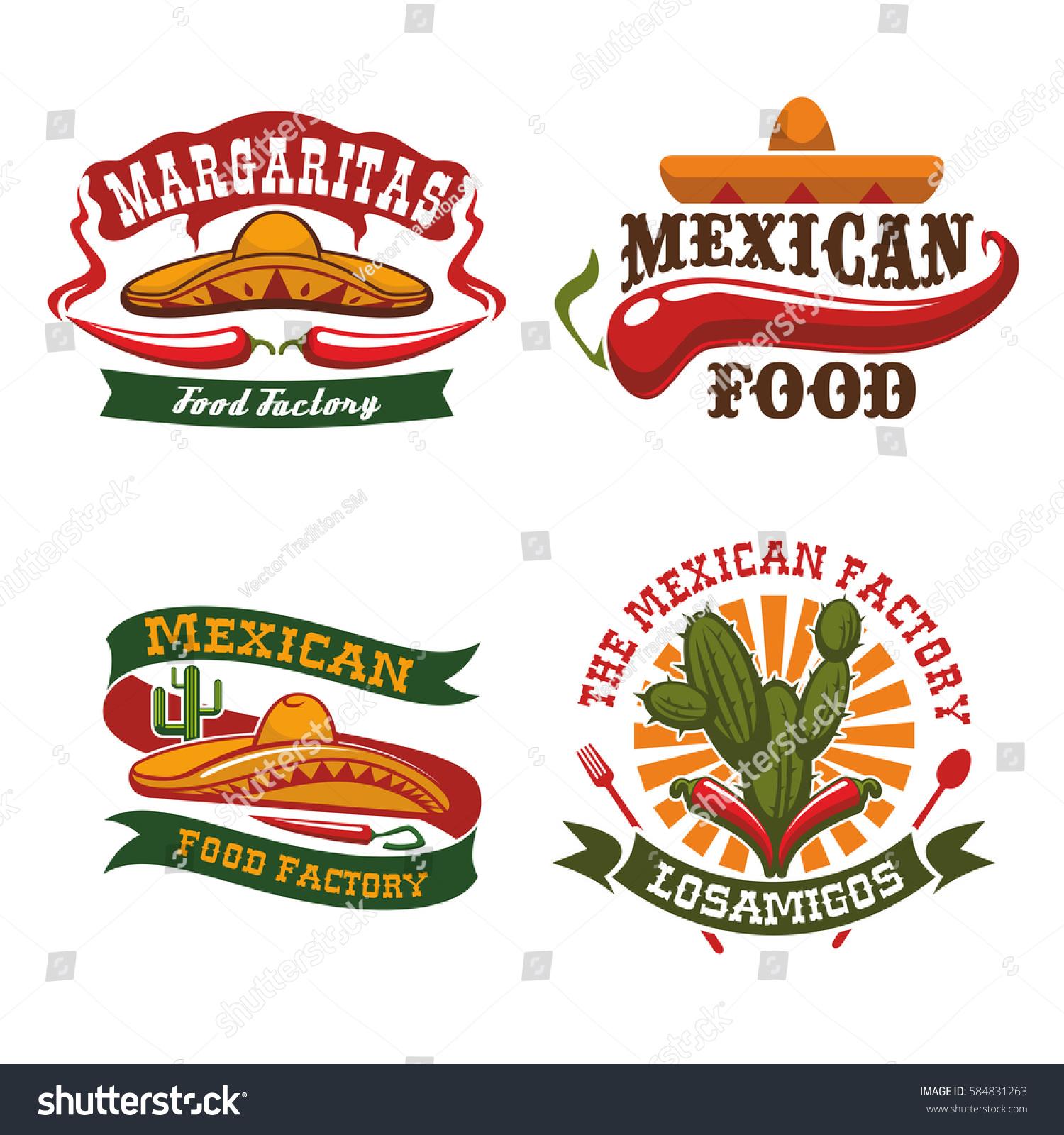 Mexican Cuisine Vector Icons Sombrero Hat Stock Vector Royalty Free