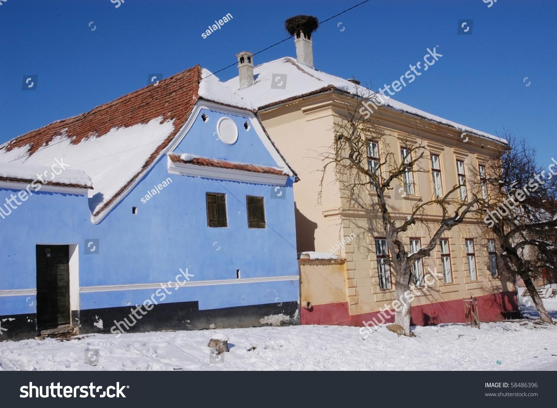 Saxon houses in viscri weisskirch szaszfeheregyhaza village transylvania romania stock - Saxon style houses in transylvania ...