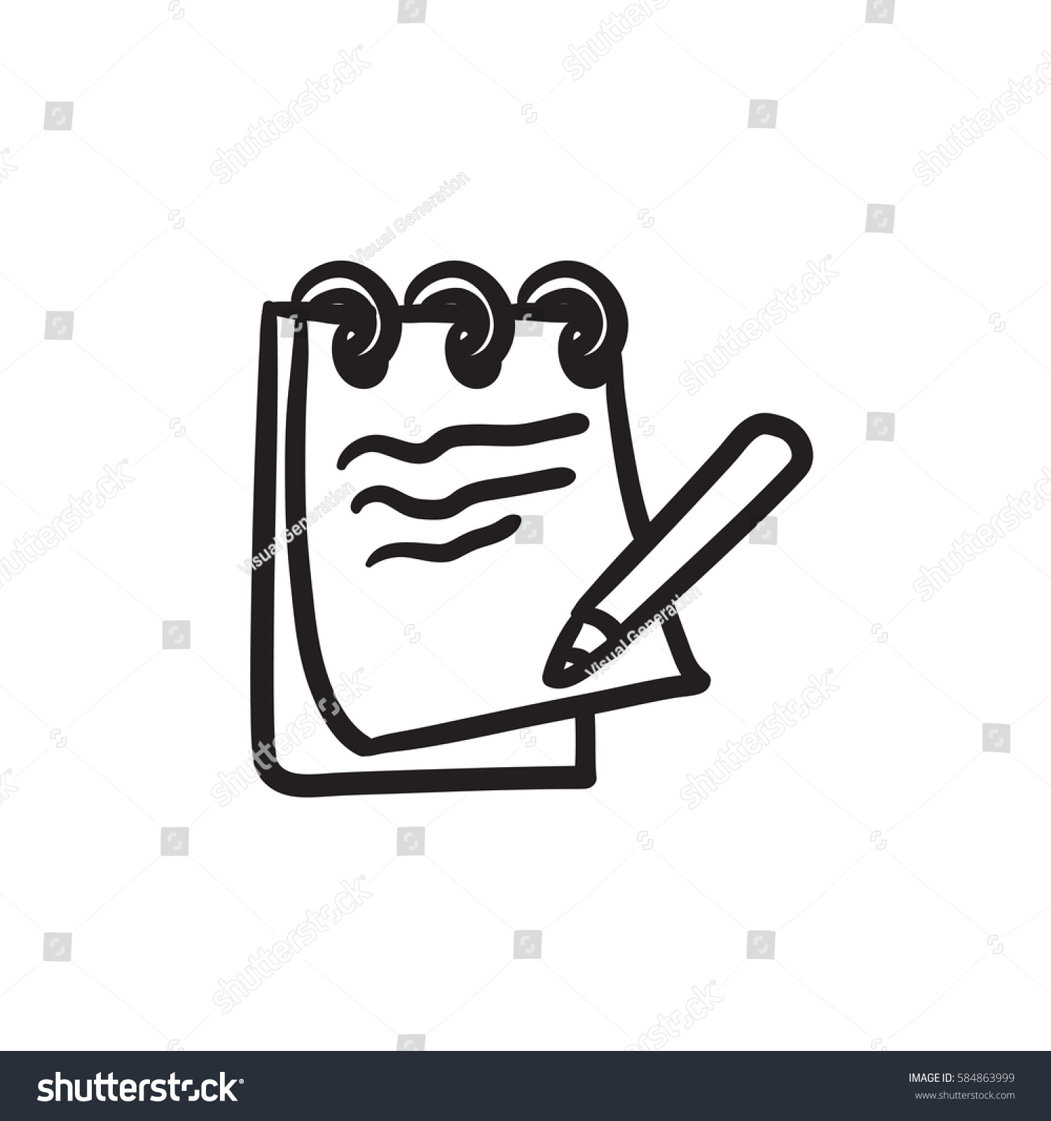 Notepad with pencil vector sketch icon isolated on background hand drawn notepad with pencil icon notepad with pencil sketch icon for infographic website