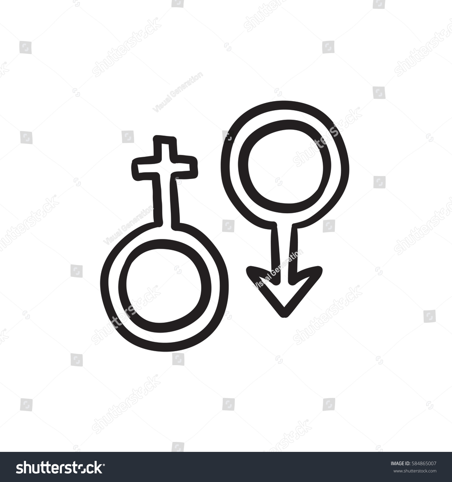 Male Female Symbol Vector Sketch Icon Stock Vector Royalty Free