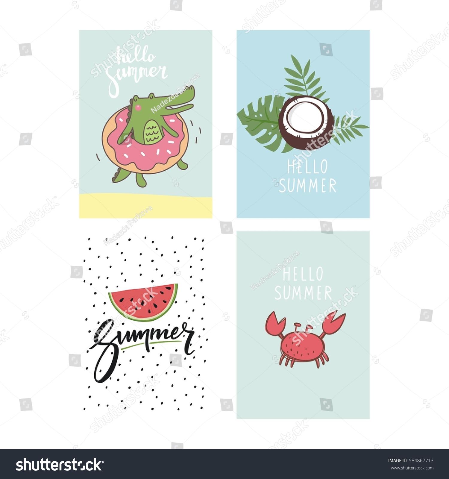 Hello Summer Cute Card Lettering Stock Vector 584867713 - Shutterstock