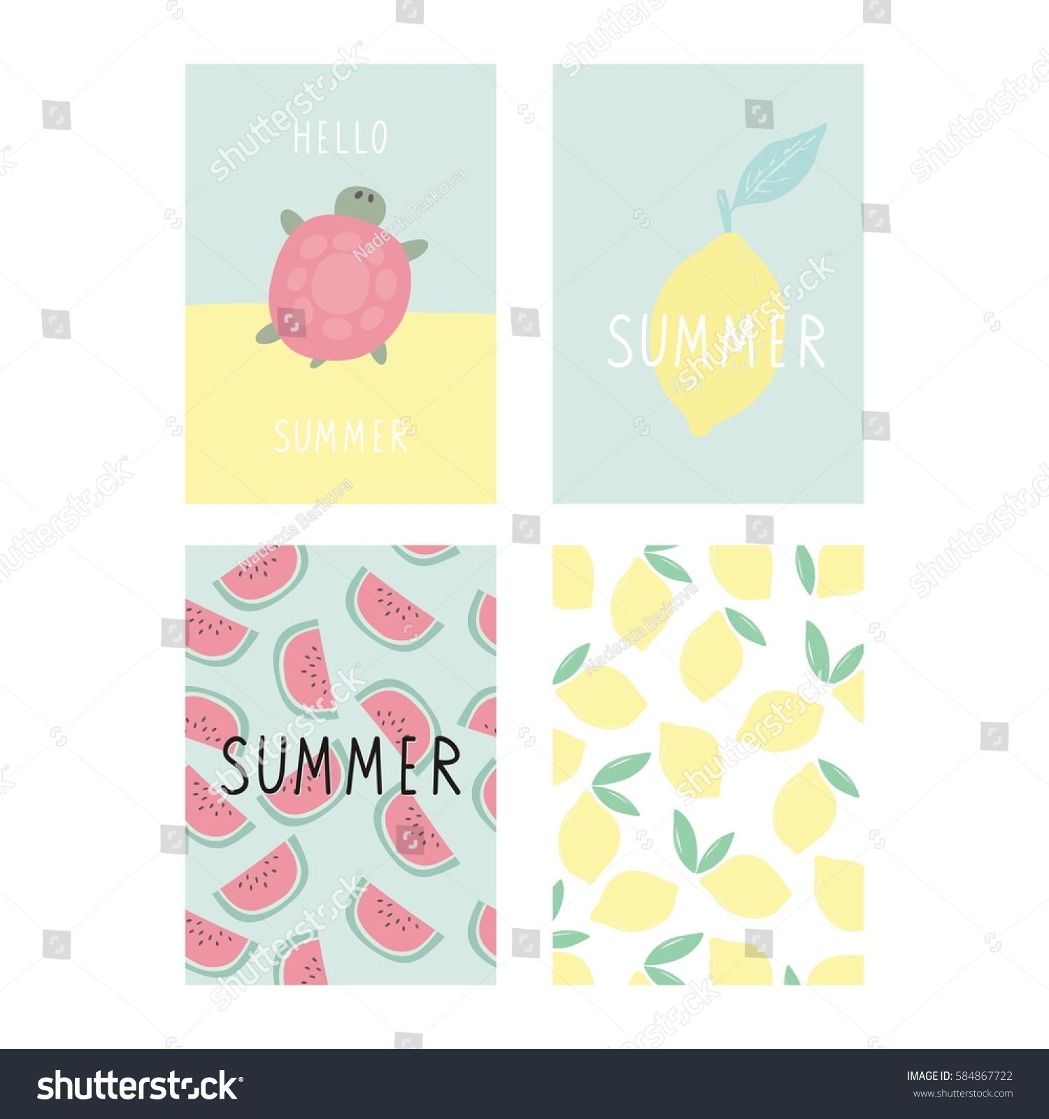 Hello Summer Cute Card Lettering Stock Vector 584867722 - Shutterstock