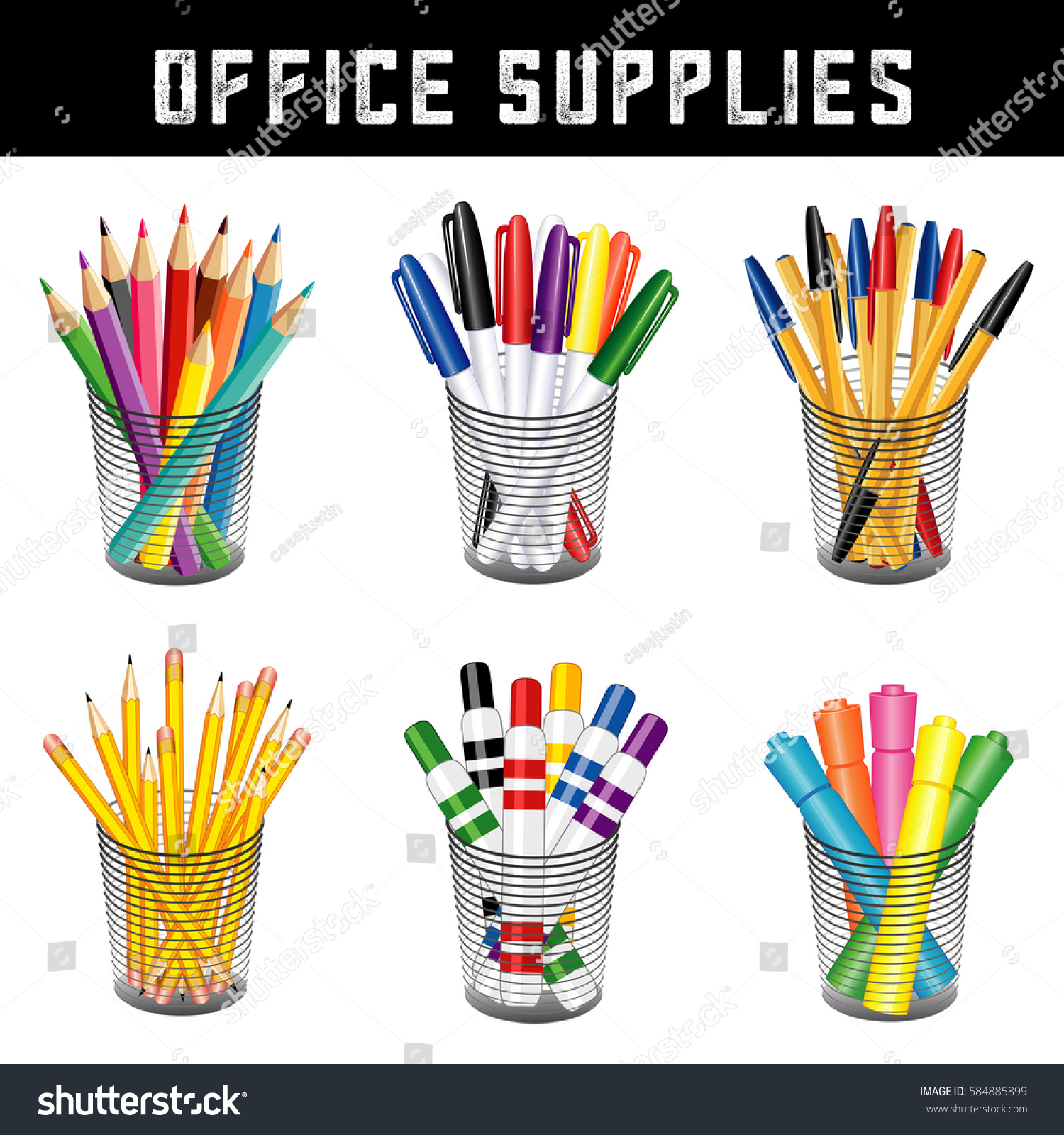 office supplies writing drawing tools desk stock