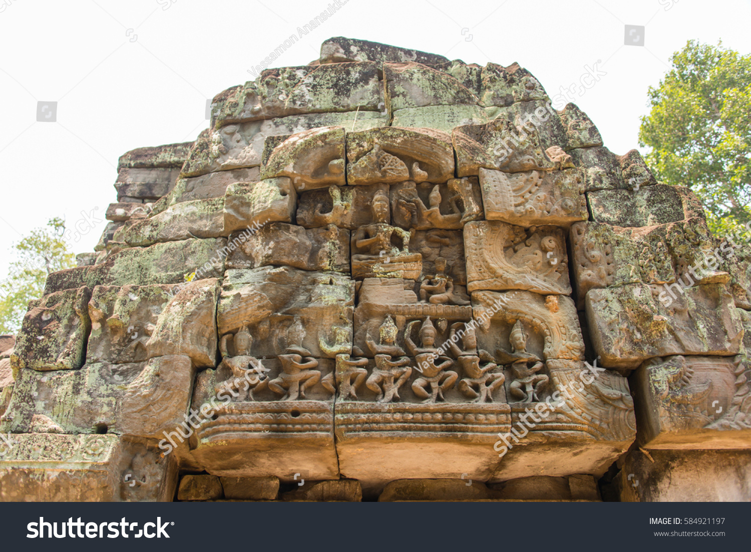 Apsara dancers stone carving all around stock photo