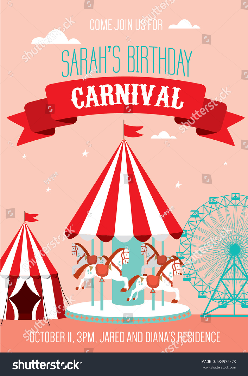 Fun Fair Carnival Birthday Invitation Template Stock Vector