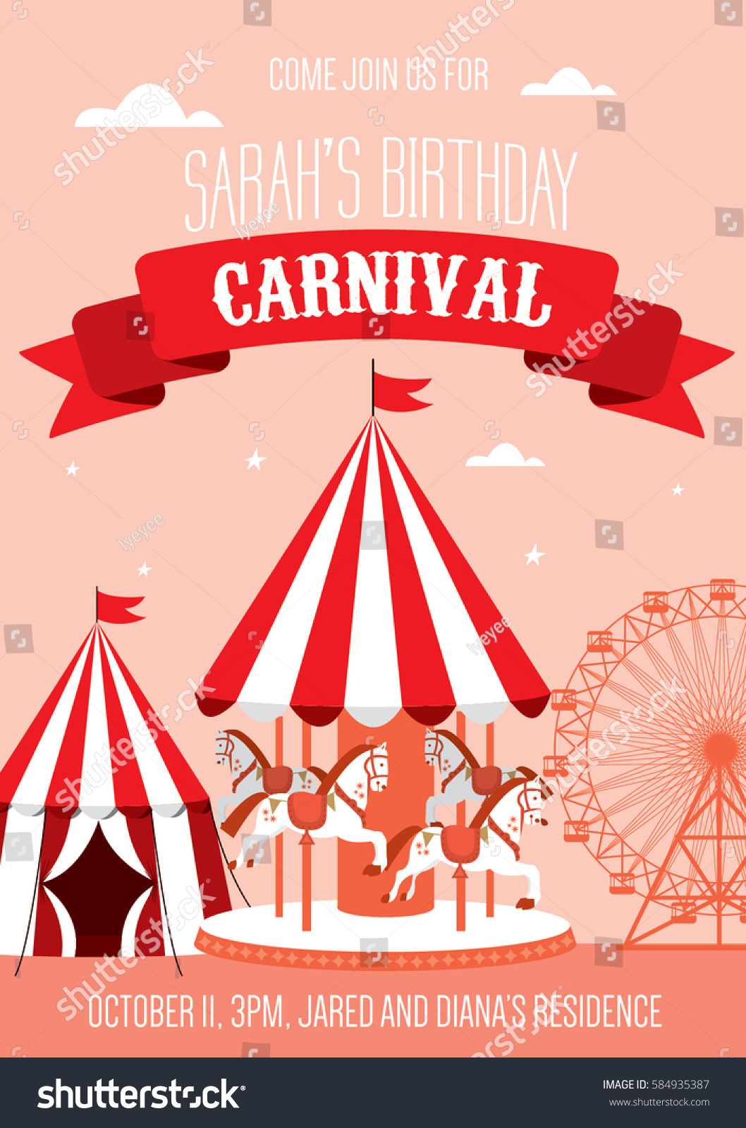 Fun Fair Carnival Birthday Invitation Template Vectorillustration