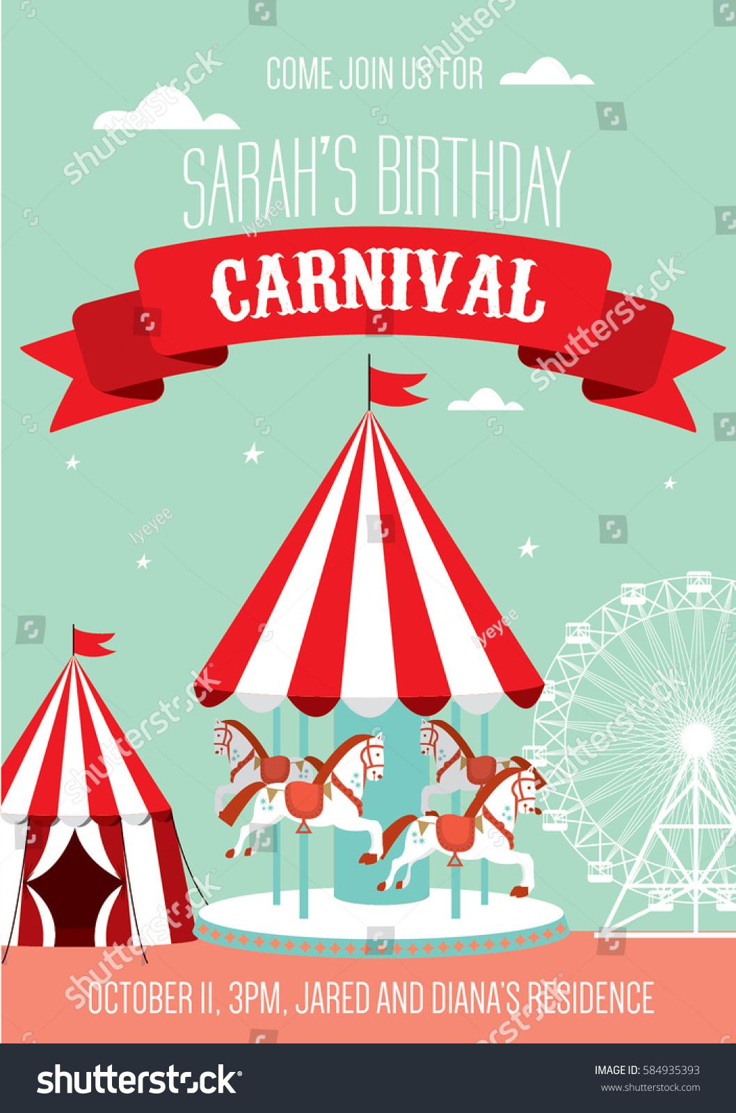 fun fair carnival birthday invitation template stock vector 584935393 shutterstock. Black Bedroom Furniture Sets. Home Design Ideas