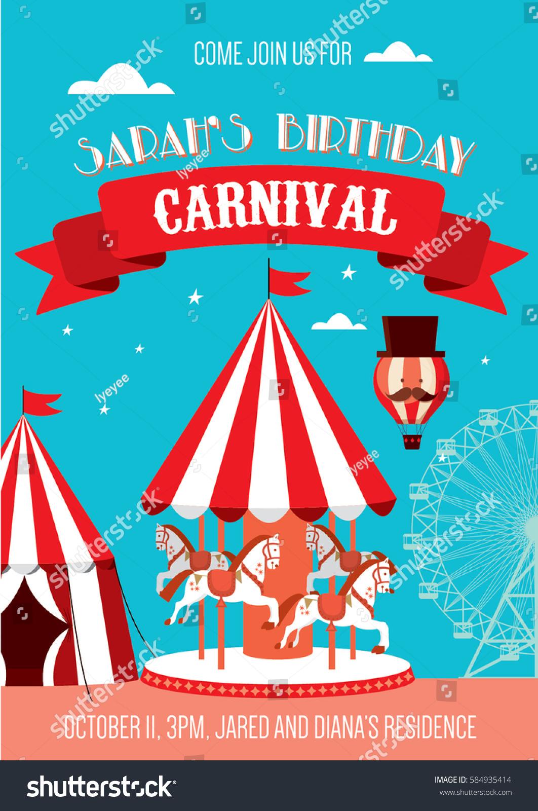 fun fair carnival birthday invitation template stock vector royalty