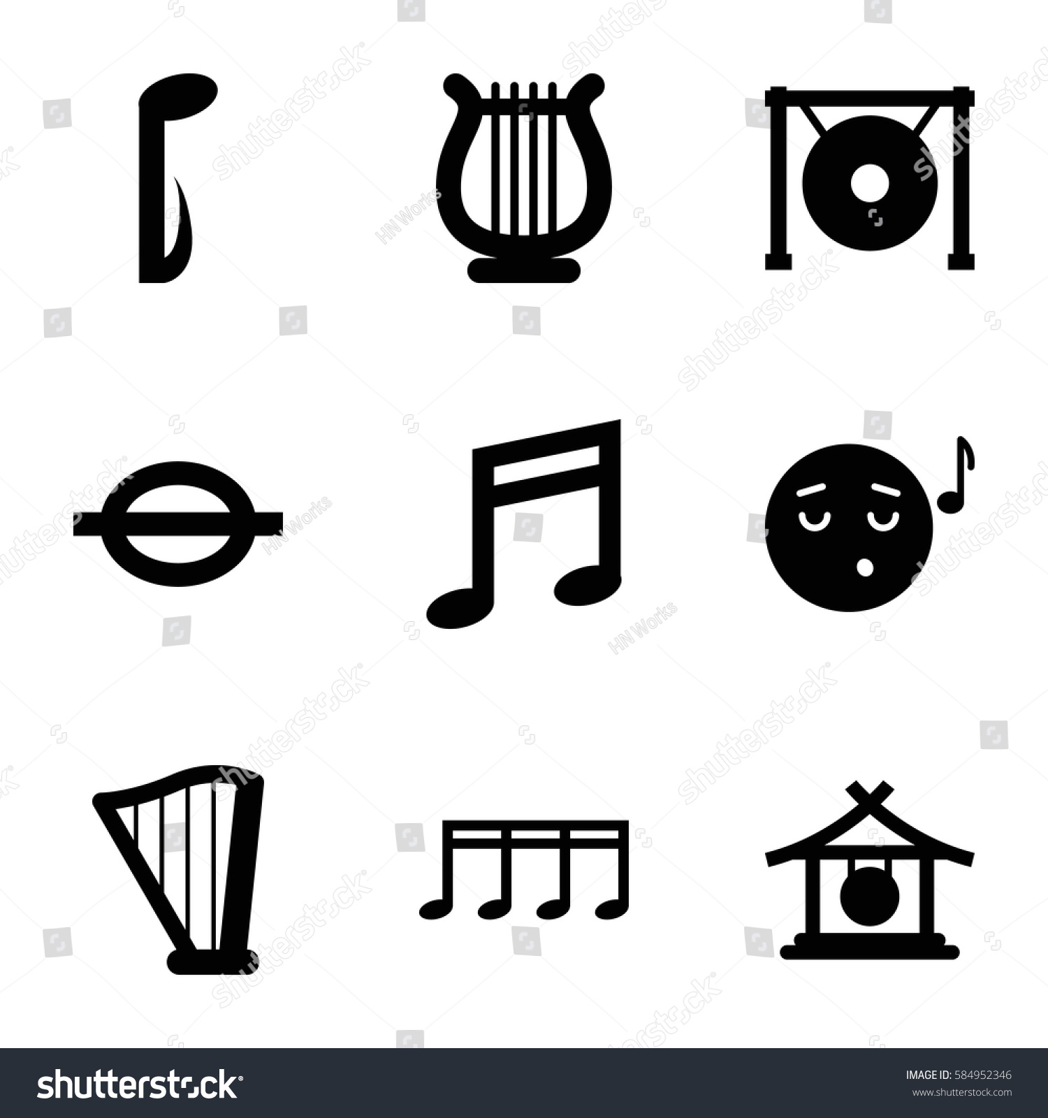 Melody Icons Set Set 9 Melody Stock Vector 584952346 Shutterstock