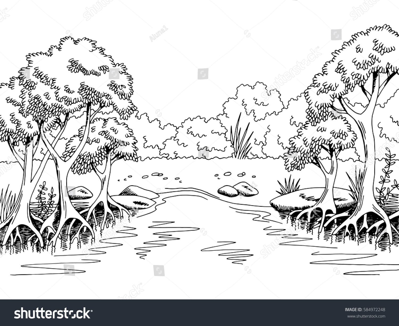 Jungle forest river graphic black white stock vector for Jungle furniture white river