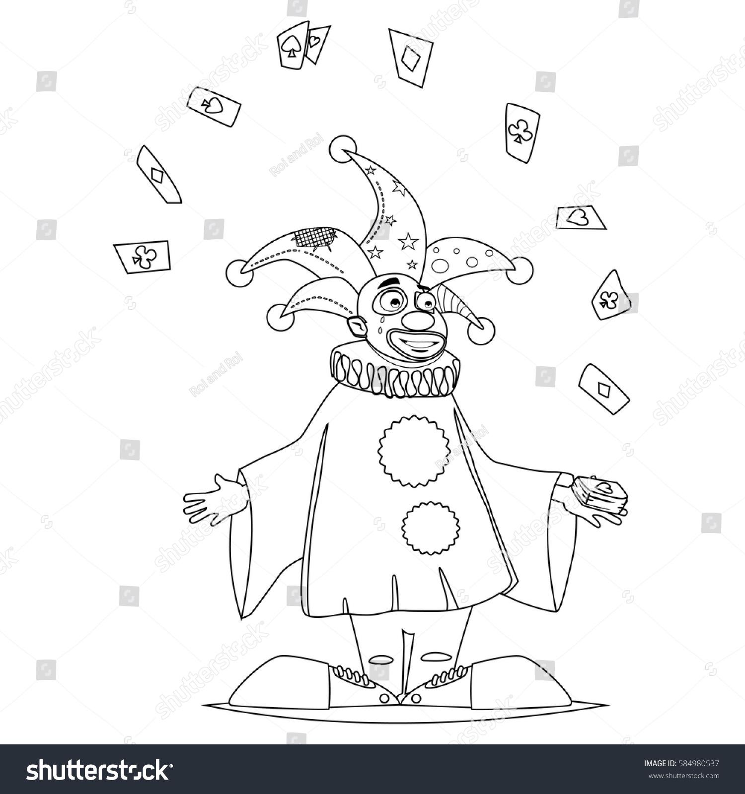 Coloring Book Page Circus Clown Juggles Stock Vector