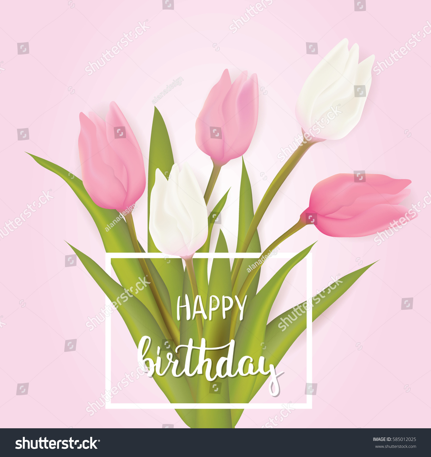 Happy Birthday Greeting Card Tulip Flowers Stock Vector Royalty