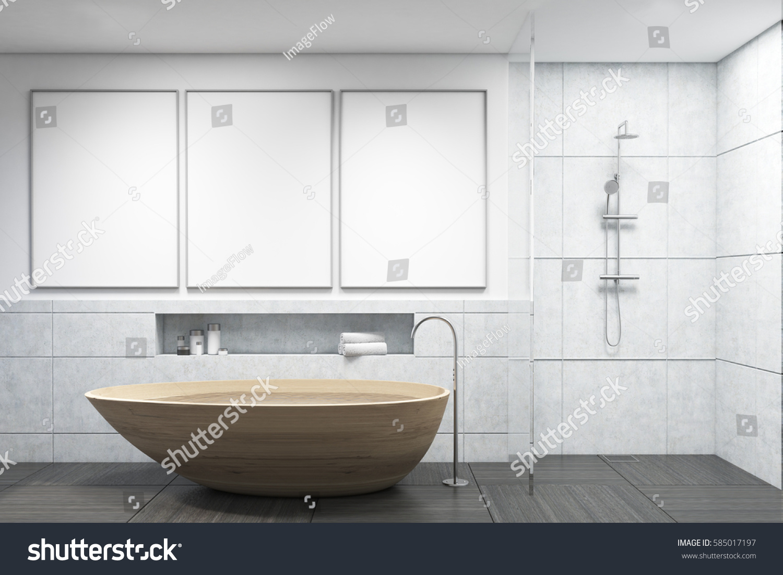 White Tiles Bathroom Interior Wooden Bathtub Stock Illustration ...