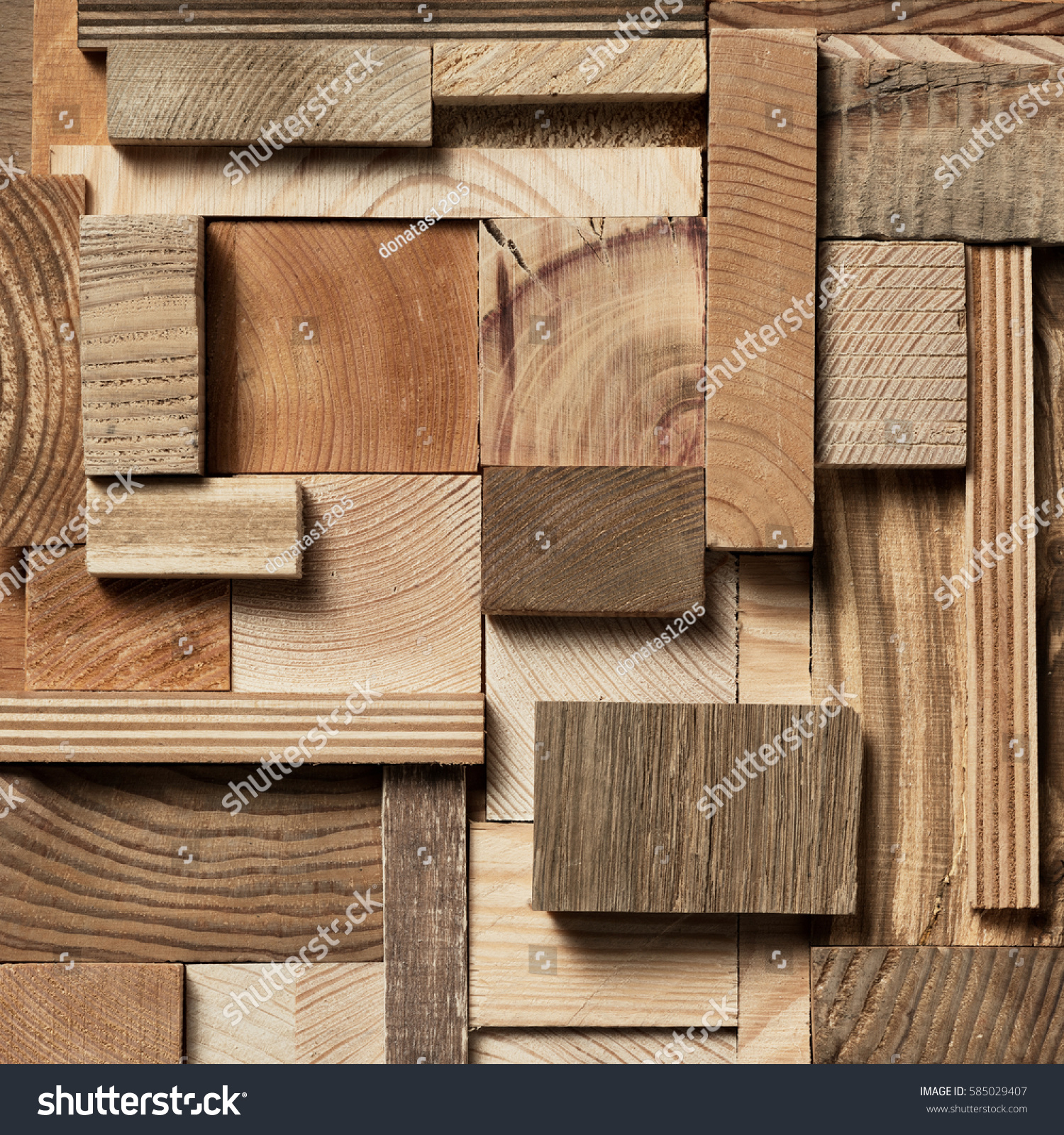Natural Wooden Blocks Collage Background Used Stock Royalty