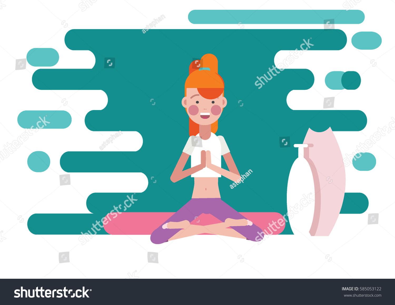 Greeting Pose Namaste Yoga Stock Vector 2018 585053122 Shutterstock