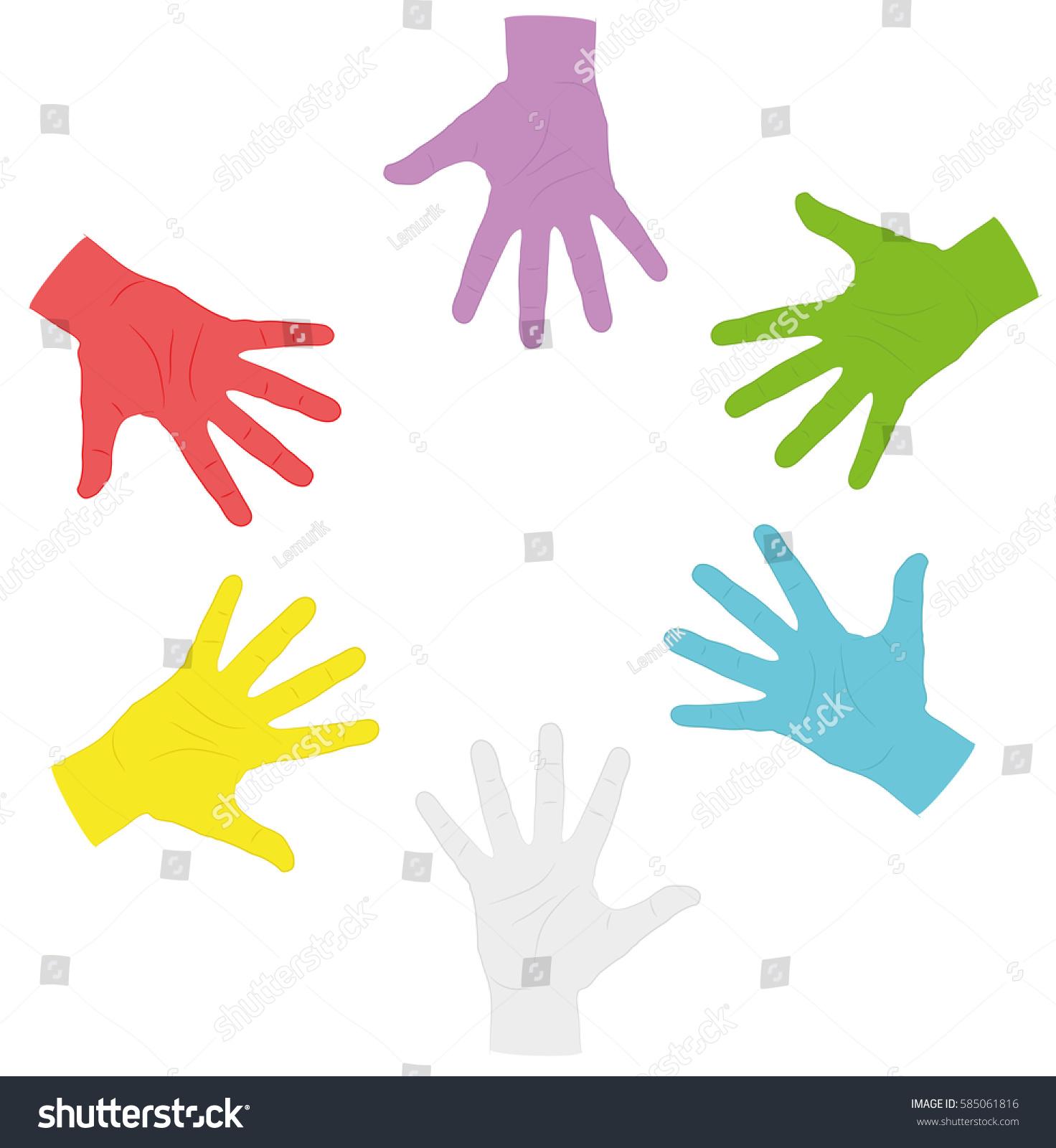 Hands different colors circle symbol autism stock vector 585061816 hands of different colors in a circle symbol of autism vector illustration biocorpaavc