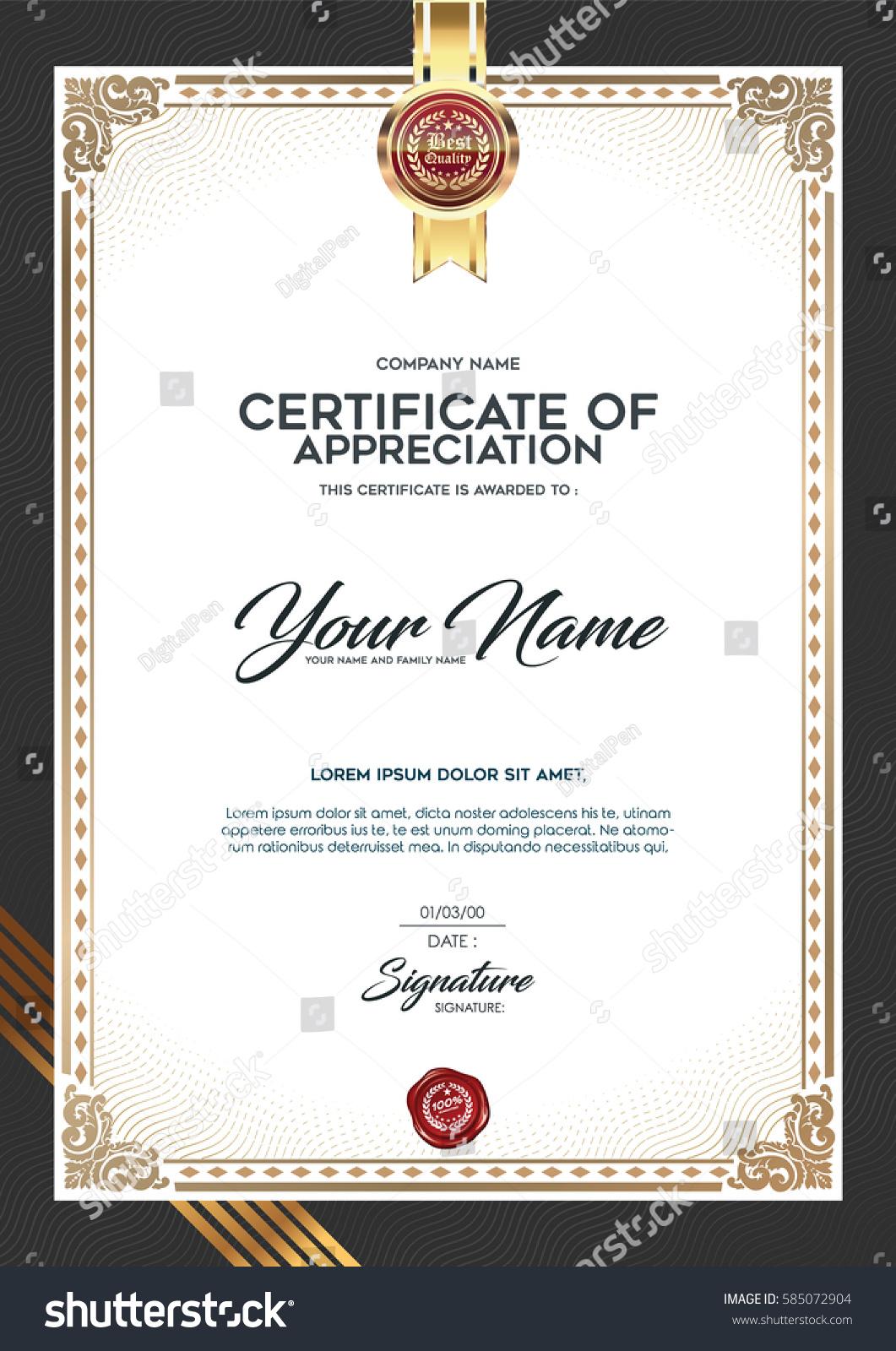 layout text format certification premium certificate stock vector