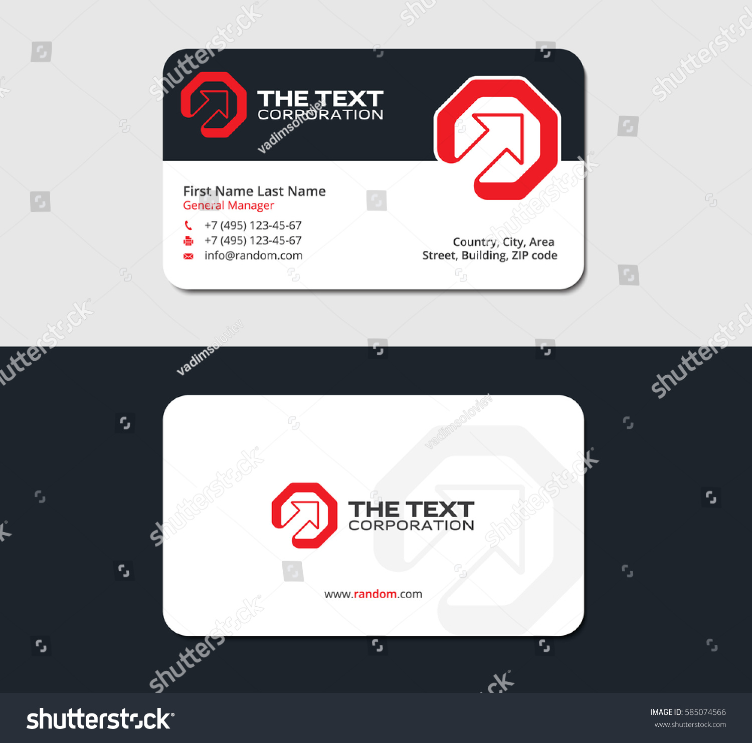 Startup Business Card Design Template Red Stock Vector HD (Royalty ...
