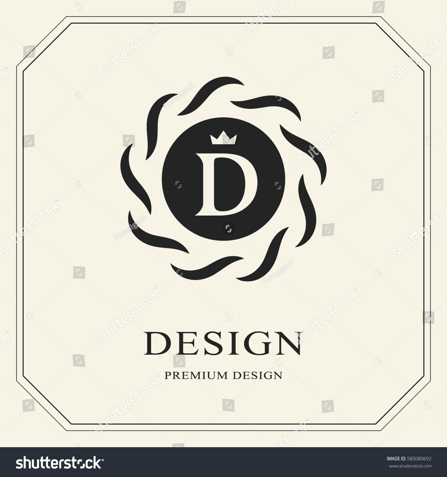Abstract Monogram Round Template Modern Elegant Stock