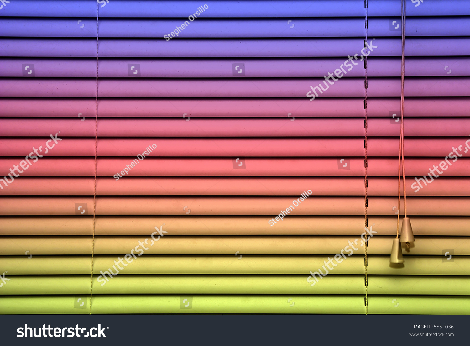Closed Rainbow Colored Blinds Showing Adjusting Cords And Slats Designed For A Background