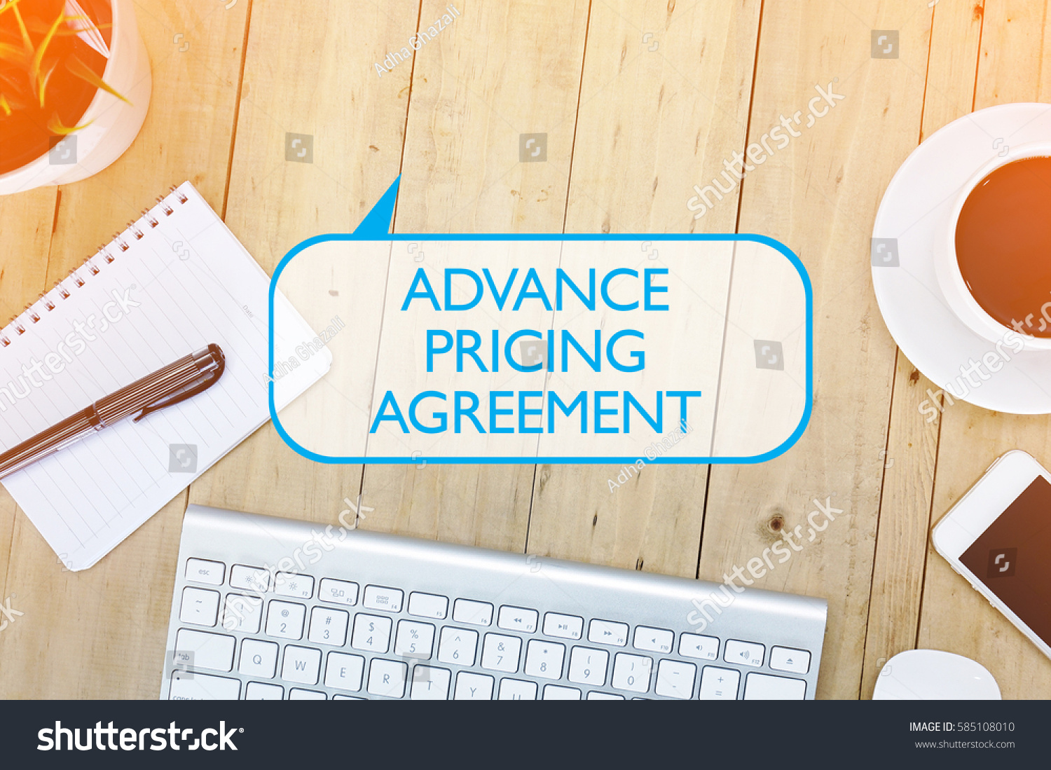 Top View Desk Concept Advance Pricing Stock Photo Royalty Free